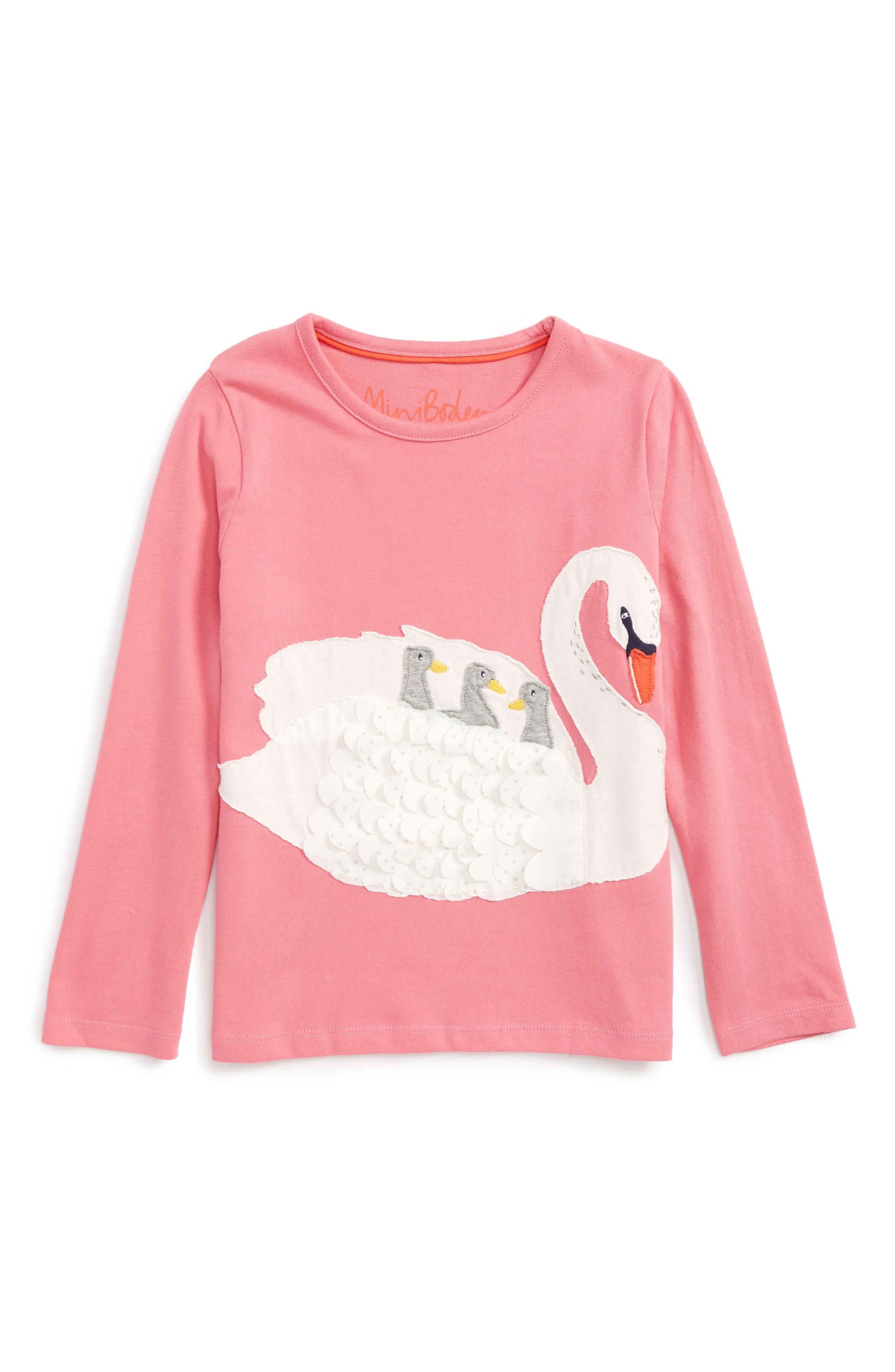 Boden Big Appliqué T-Shirt,                         Main,                         color, Soft Plum Blossom