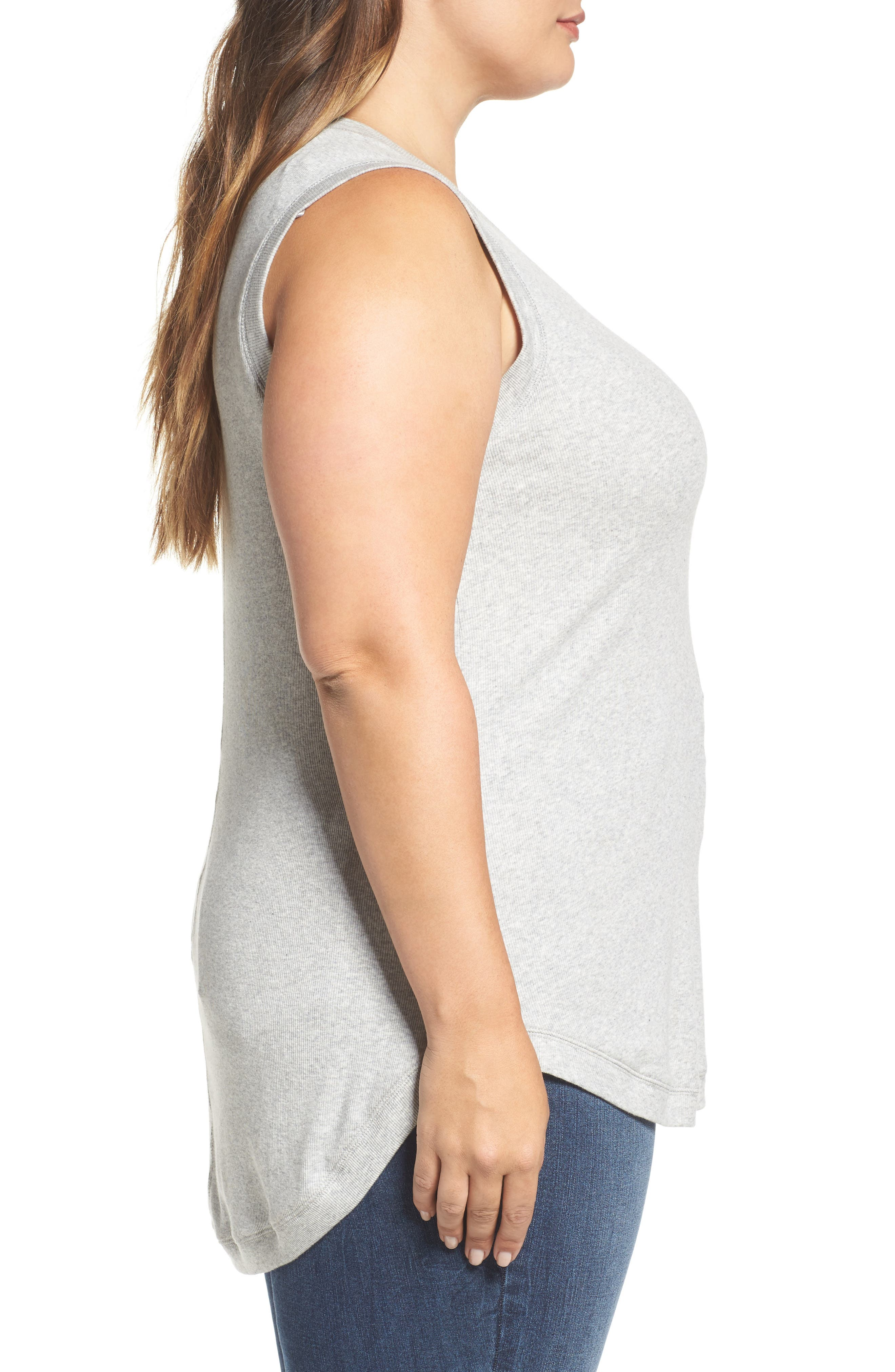 Sleeveless Rib Knit Top,                             Alternate thumbnail 3, color,                             Light Heather Grey