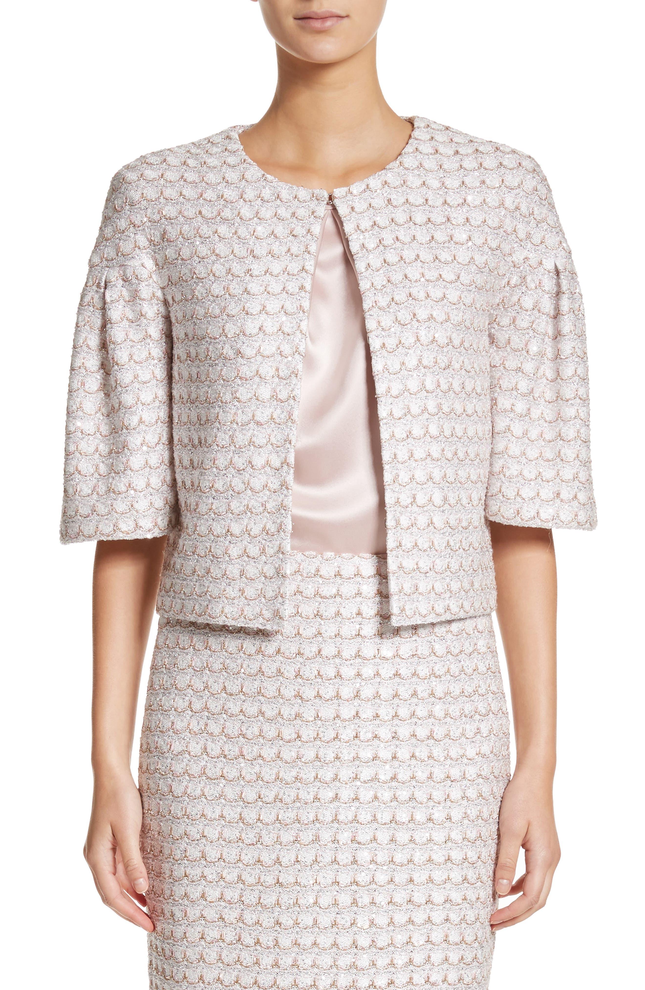 Sequin Scallop Knit Bolero,                         Main,                         color, Bianco Multi