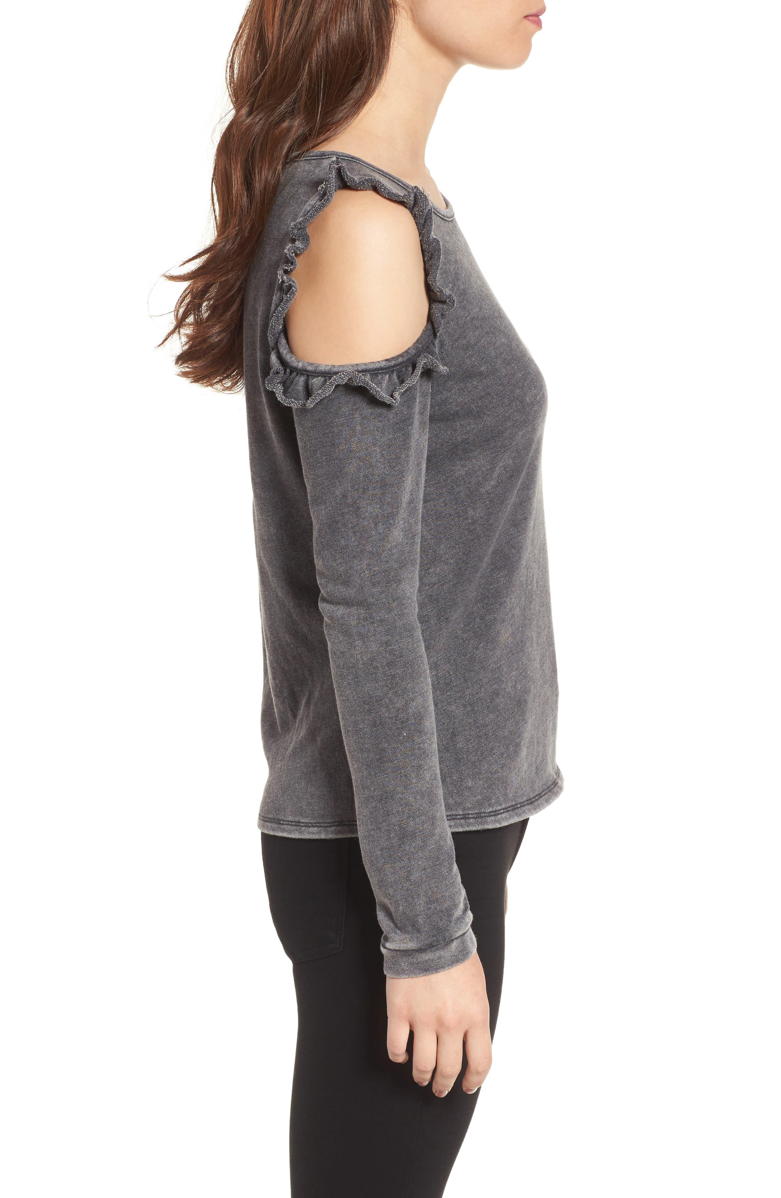 Alternate Image 3  - Love, Fire Ruffle Cold Shoulder Sweatshirt