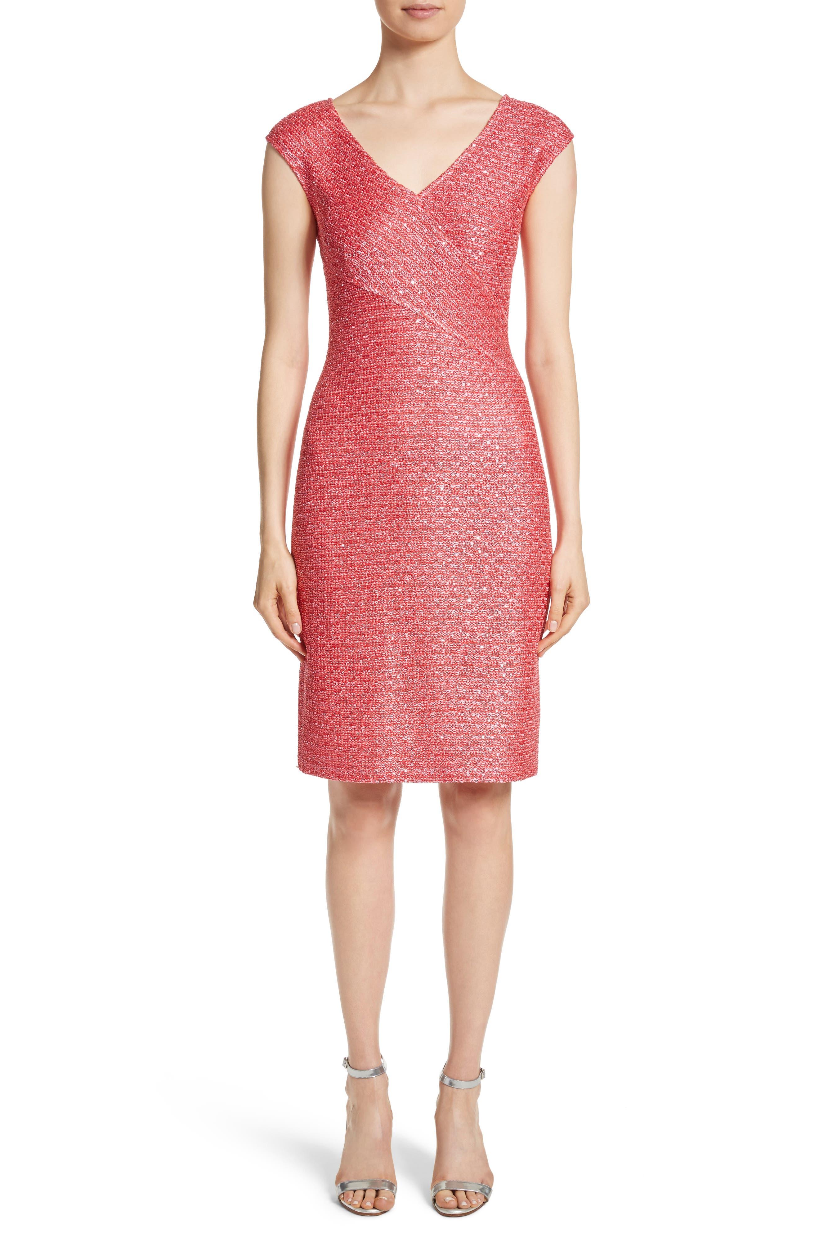 Hansh Knit Dress,                             Main thumbnail 1, color,                             Coral Multi