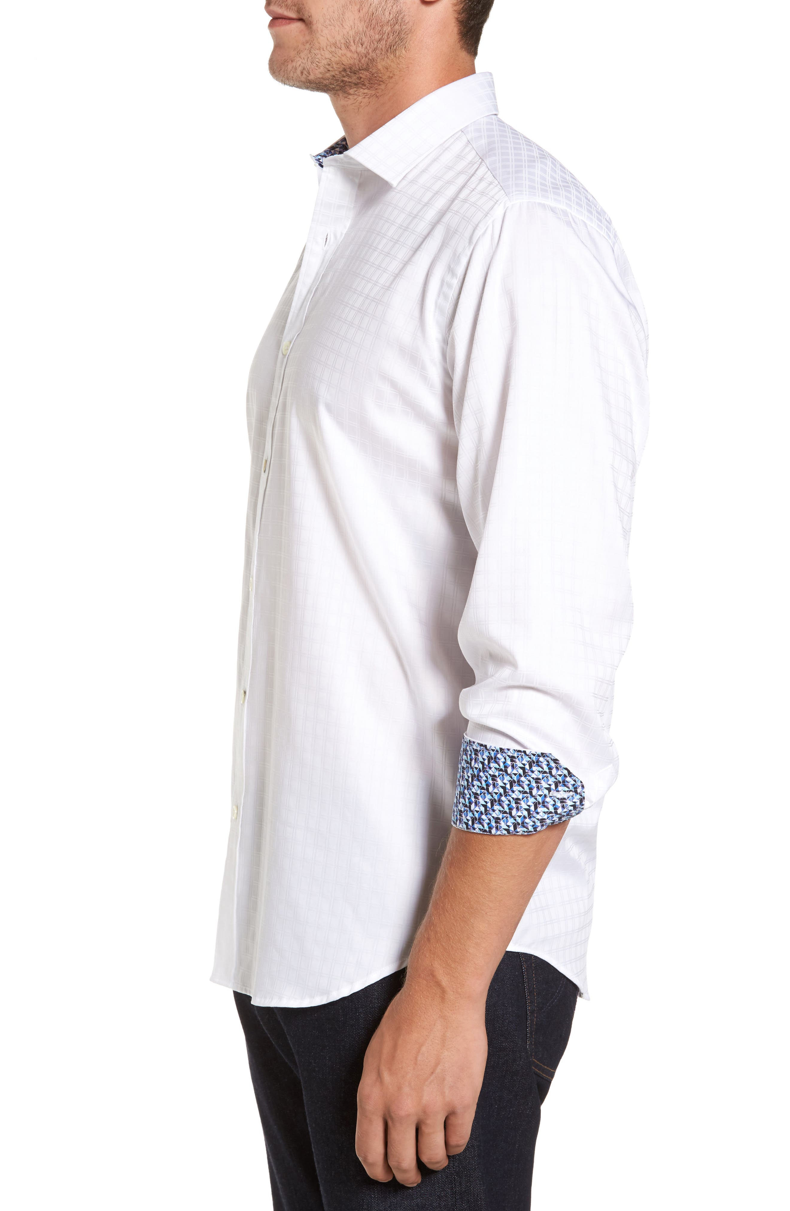 Classic Fit Check Jacquard Sport Shirt,                             Alternate thumbnail 3, color,                             White