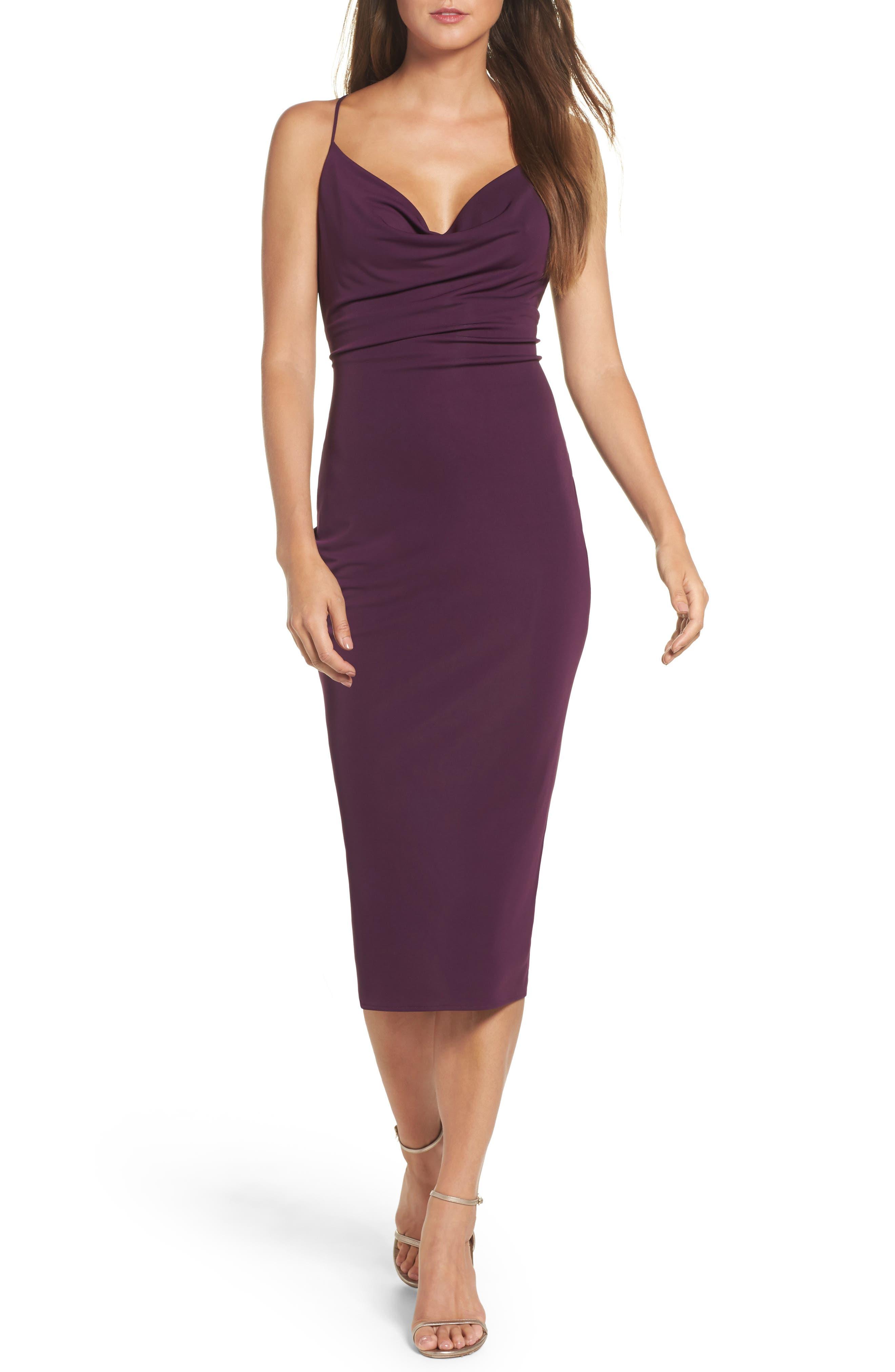 Cowl Neck Midi Dress,                         Main,                         color, Wine