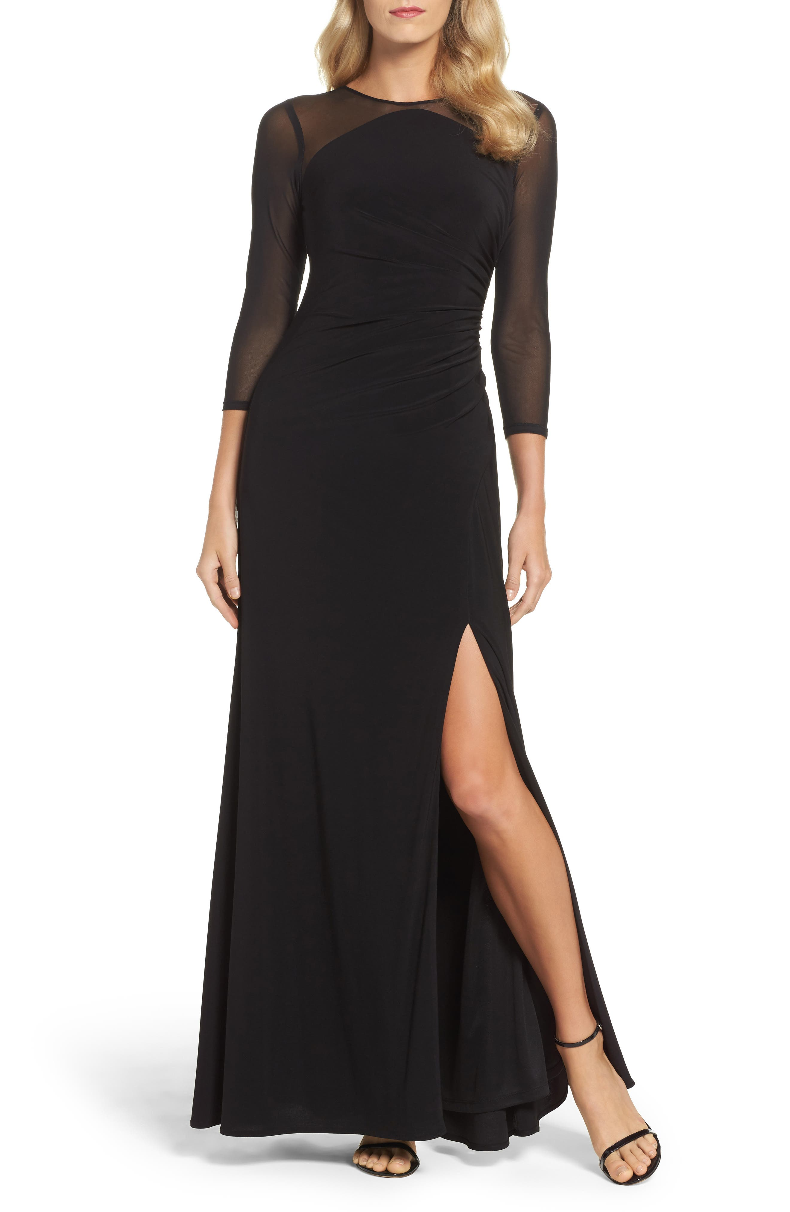Illusion Jersey Gown,                             Main thumbnail 1, color,                             Black