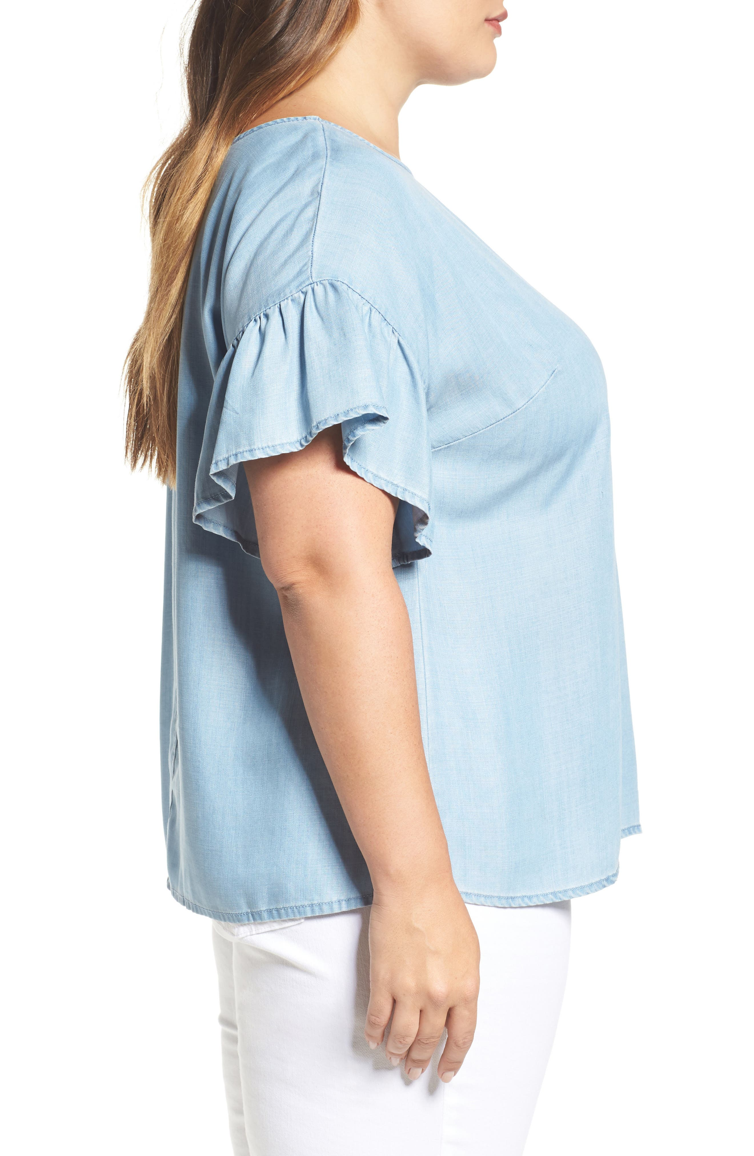 Alternate Image 3  - Two by Vince Camuto Ruffle Sleeve Chambray Top (Plus Size)