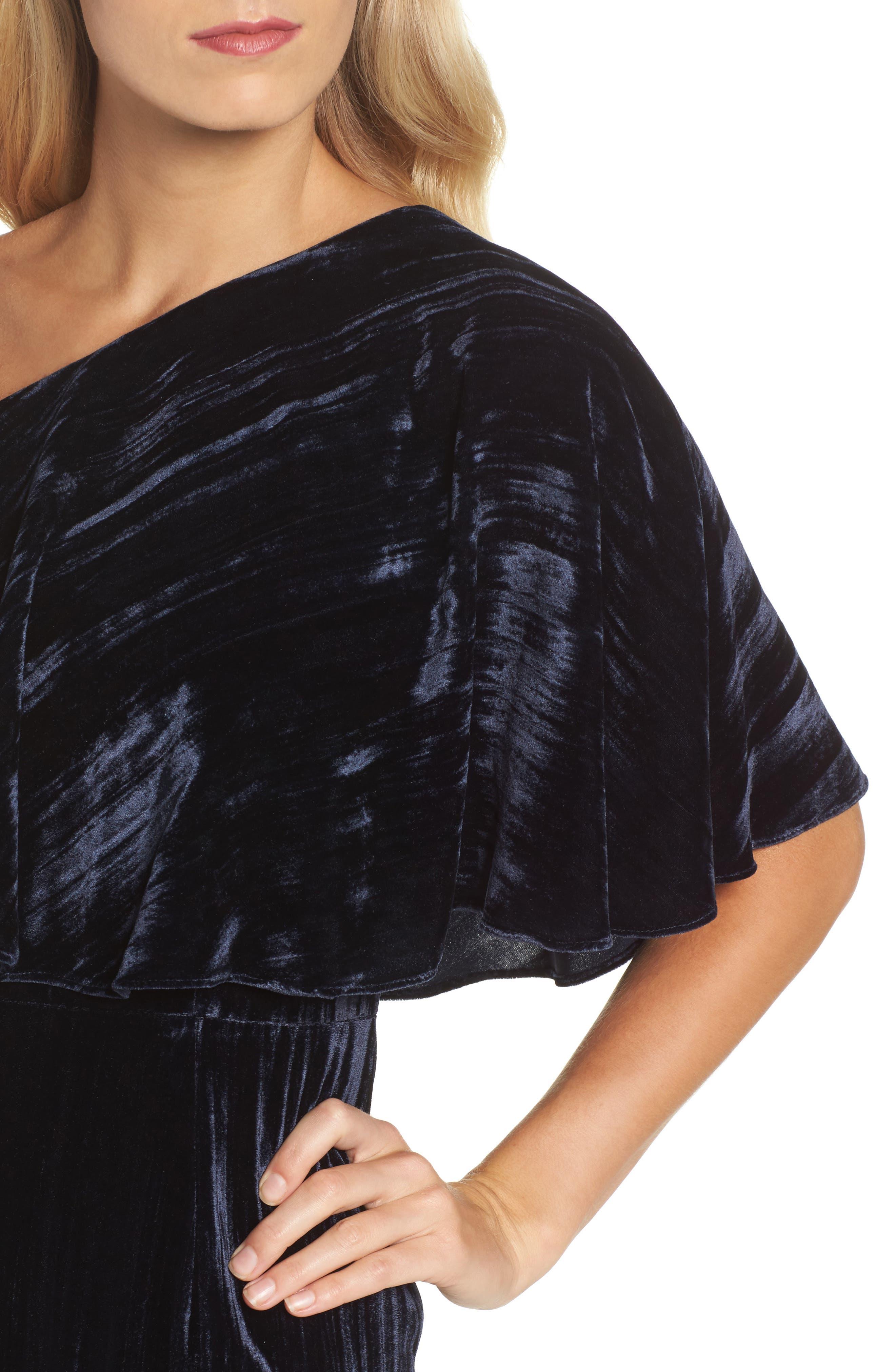 One-Shoulder Velvet Gown,                             Alternate thumbnail 4, color,                             Navy