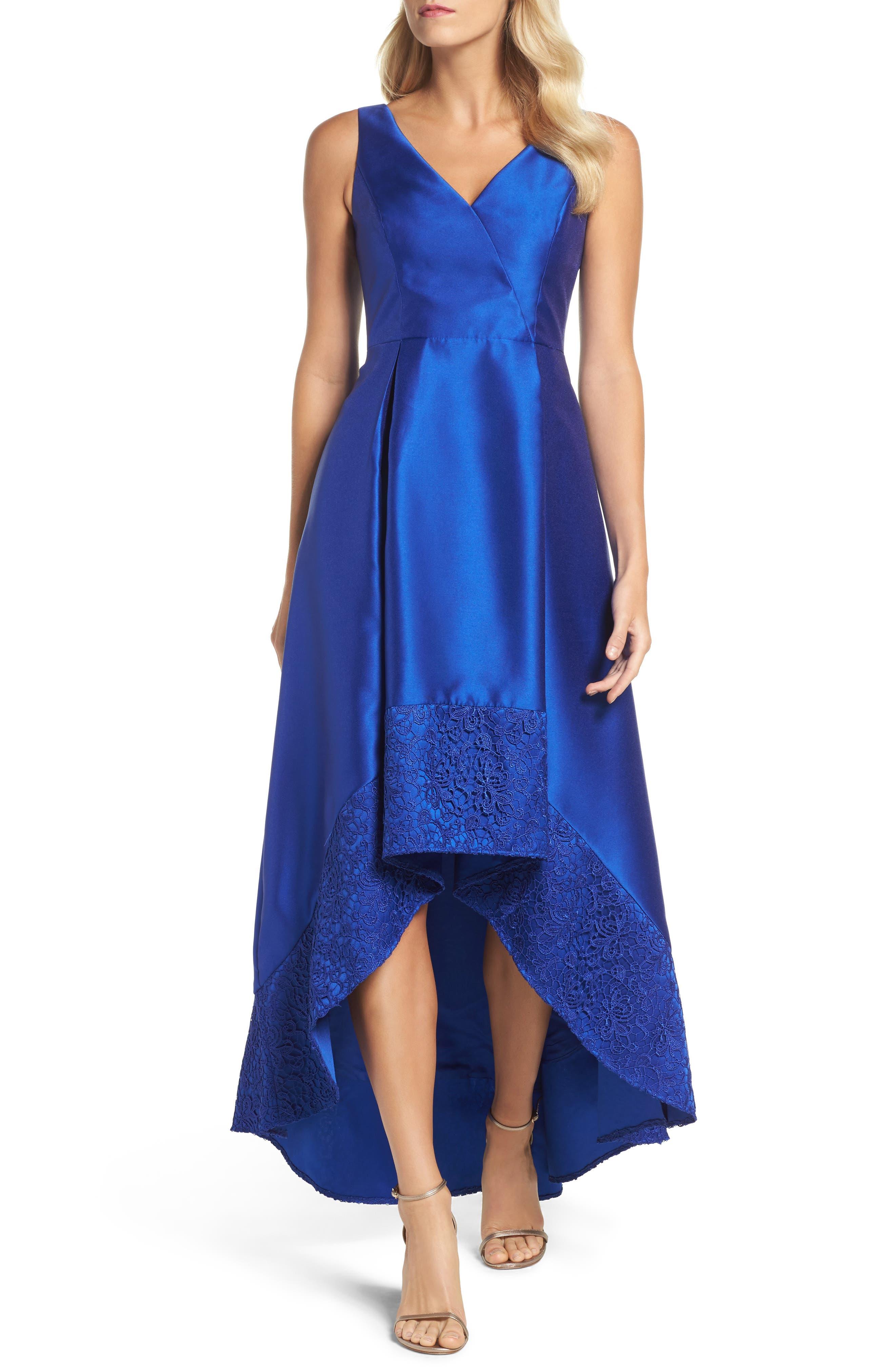 Lace Trim Mikado High/Low Gown,                         Main,                         color, Deep Sapphire
