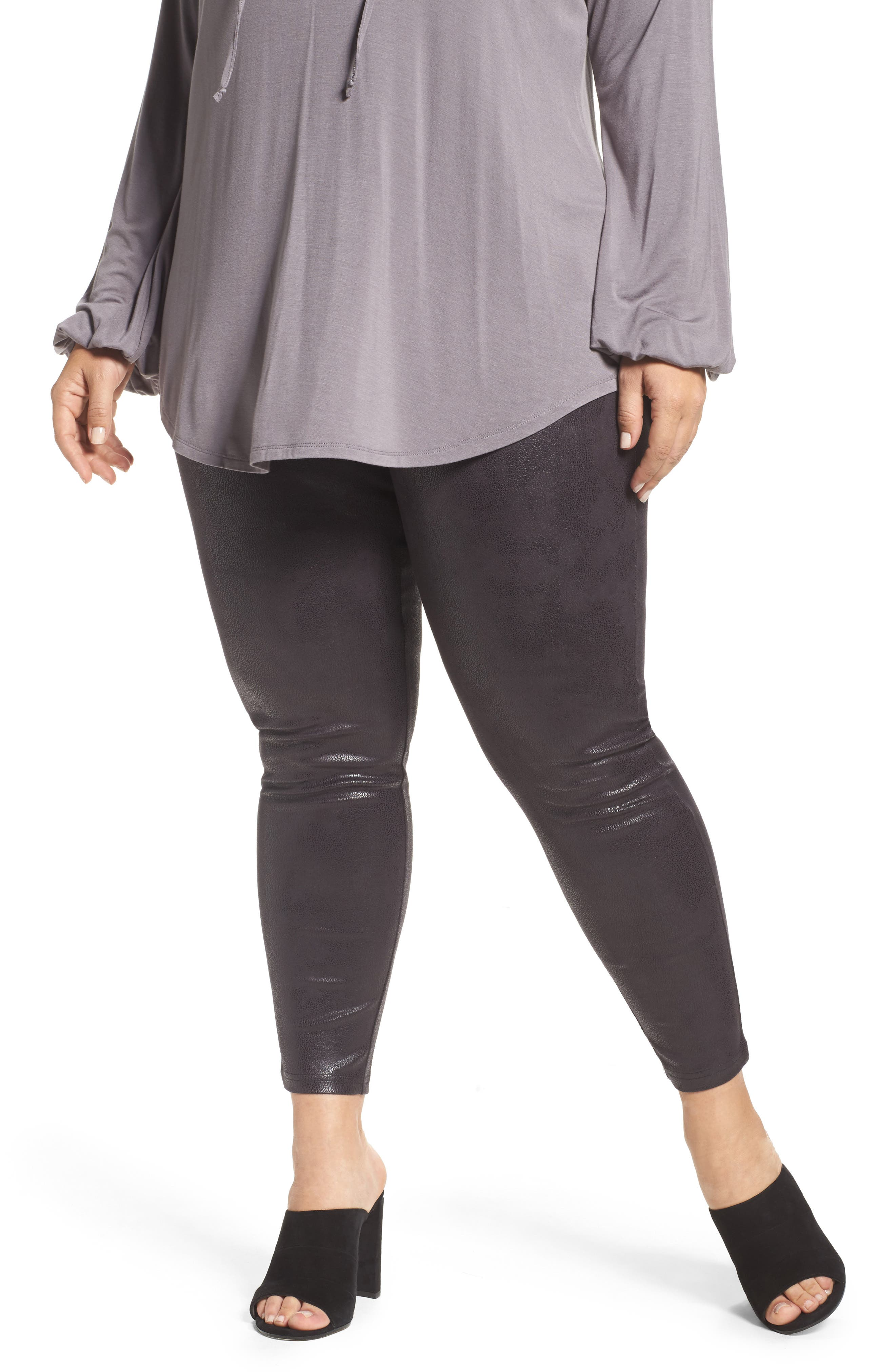 Melissa McCarthy Seven7 Textured Faux Leather Leggings (Plus Size)