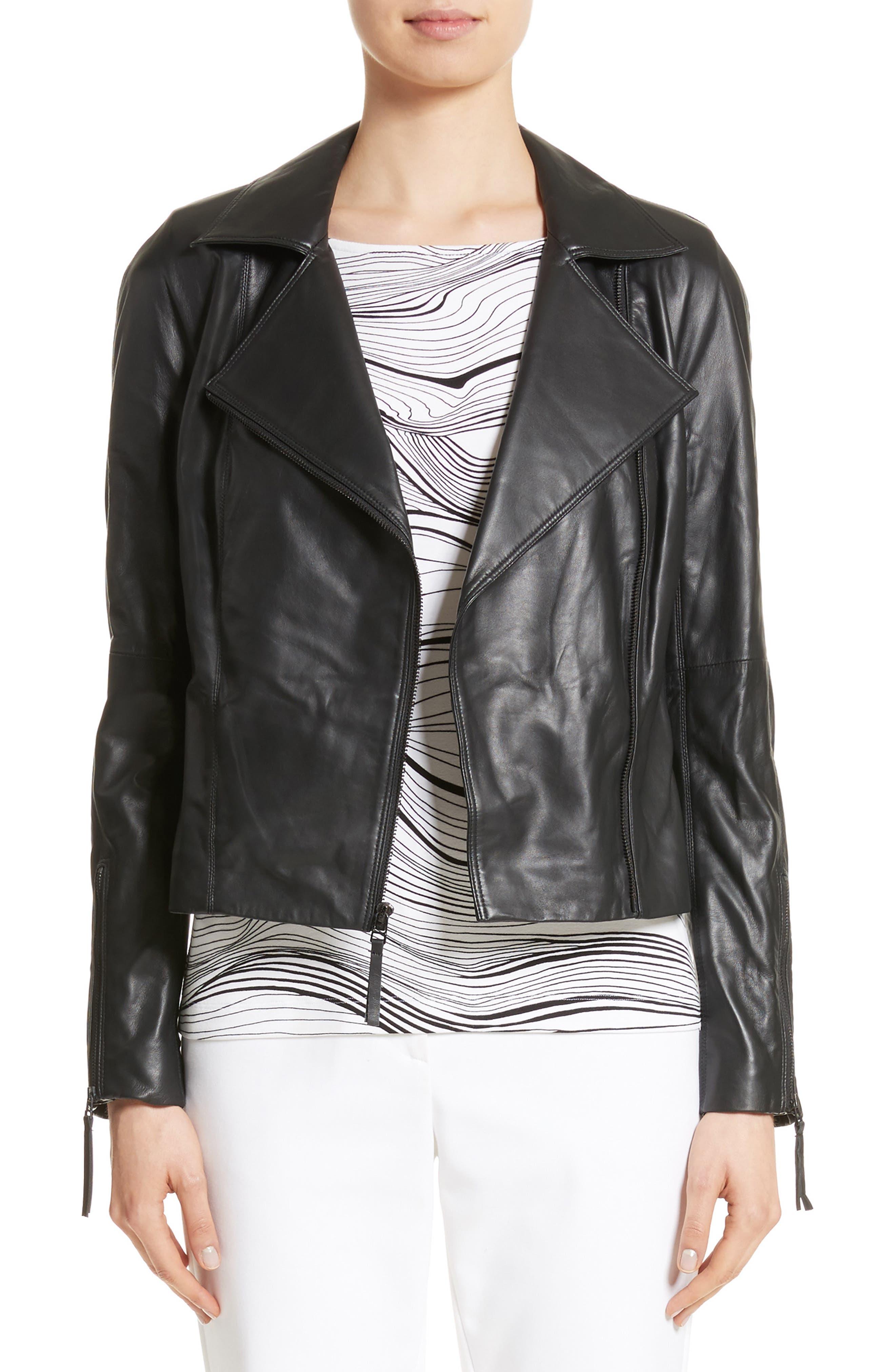 Nappa Leather Moto Jacket,                         Main,                         color, Caviar