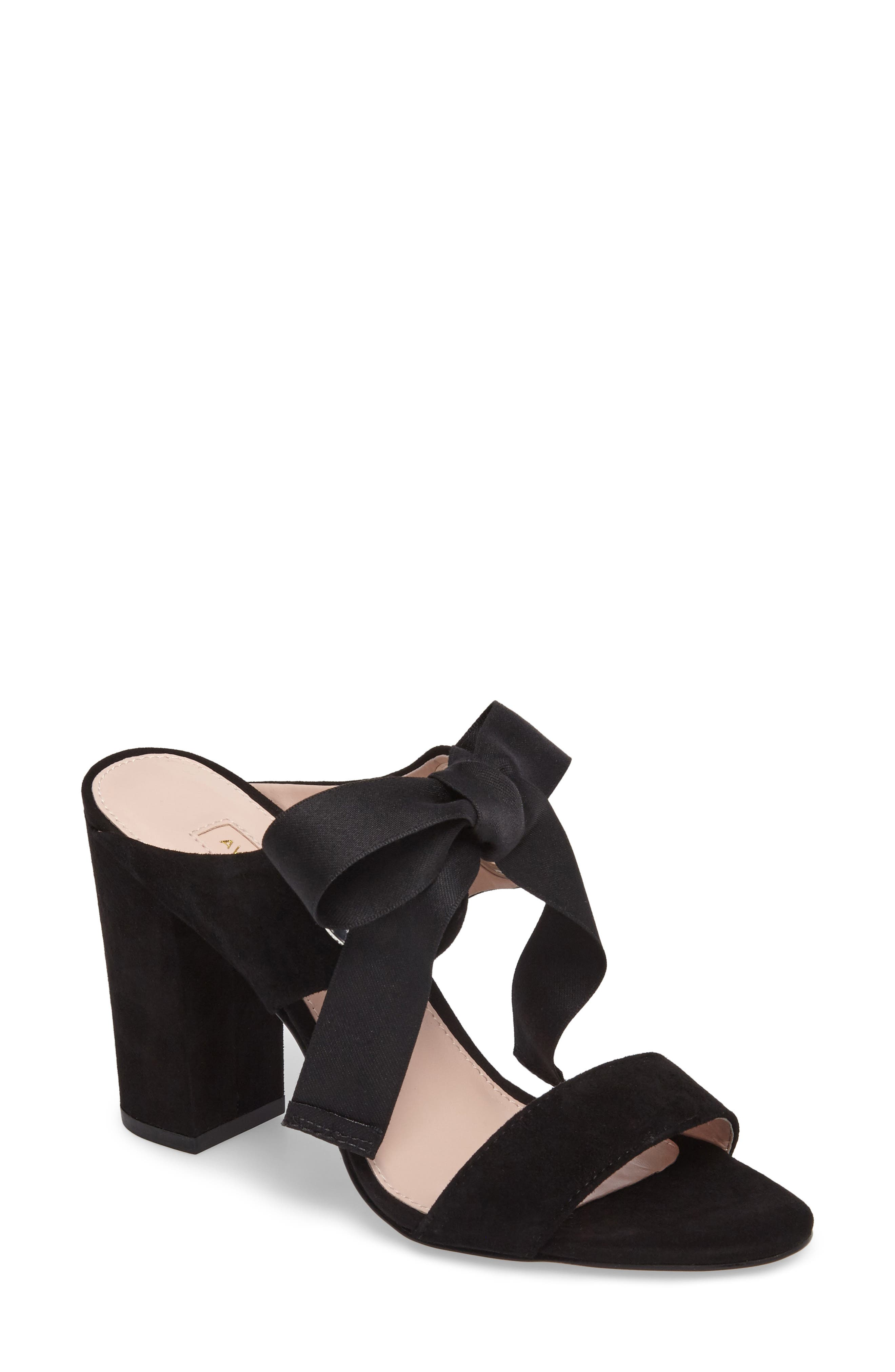 Megan Tie Strap Sandal,                             Main thumbnail 1, color,                             Black Suede