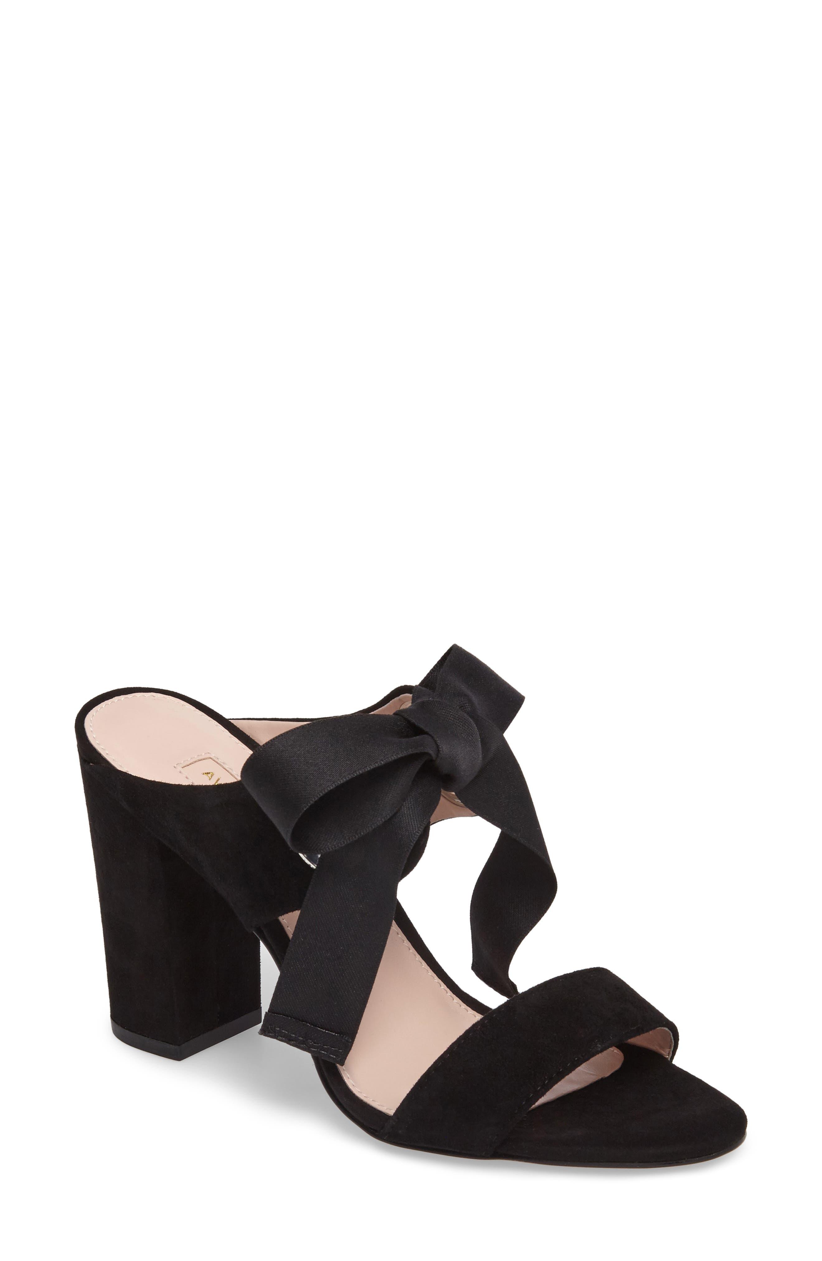 Megan Tie Strap Sandal,                         Main,                         color, Black Suede