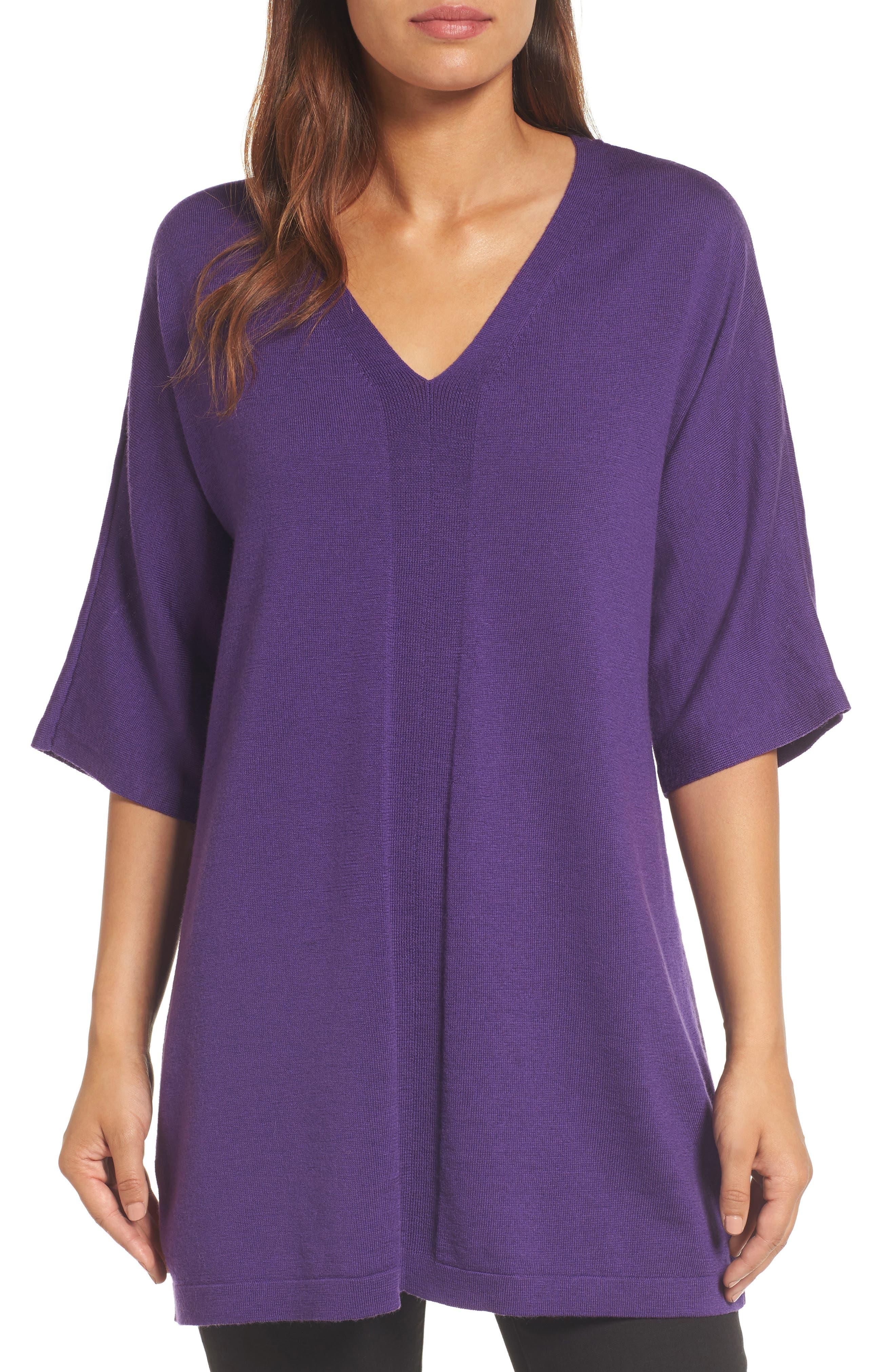 Merino Wool Tunic Sweater,                             Main thumbnail 1, color,                             Purple Rain
