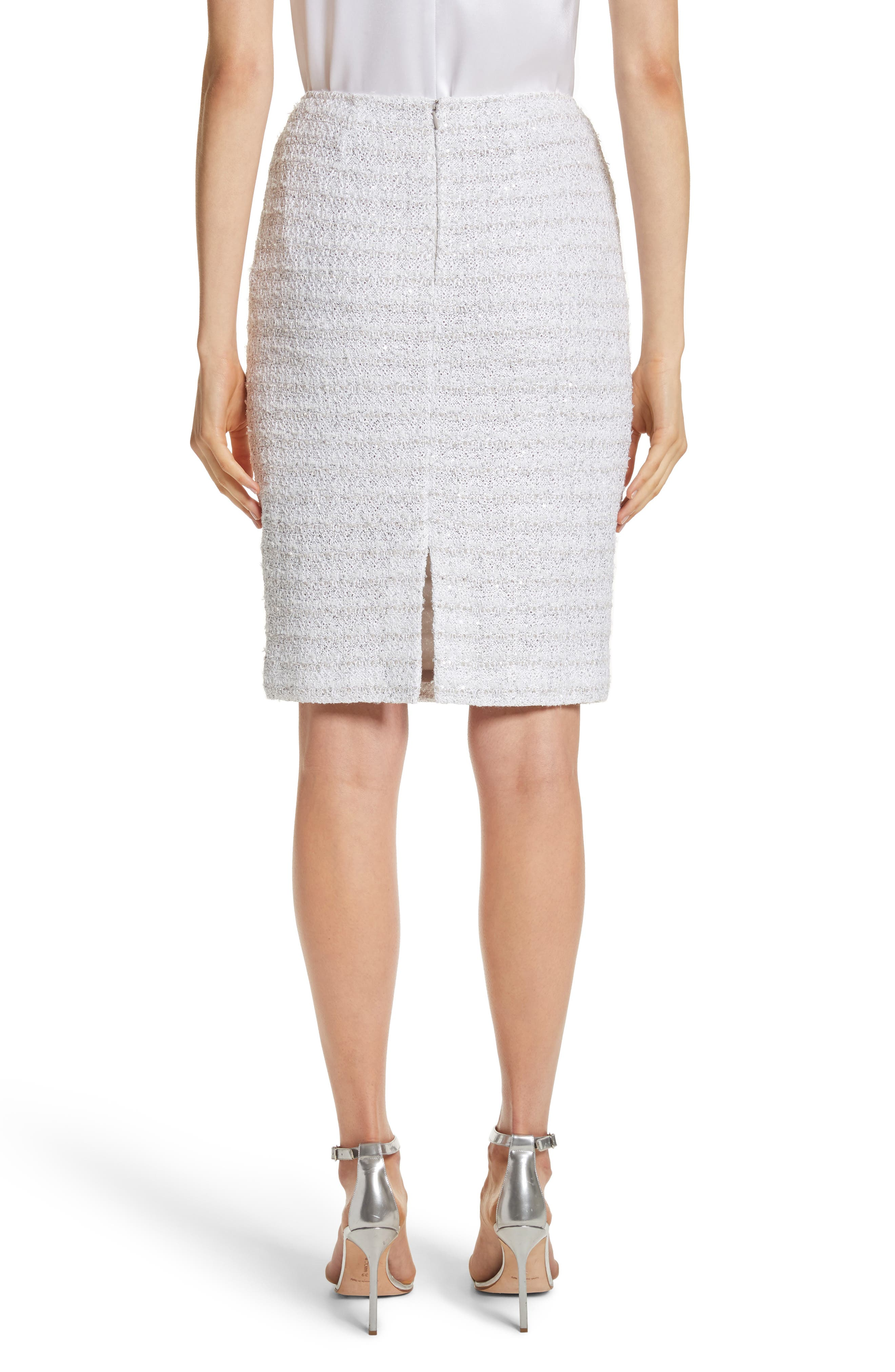 Frosted Metallic Tweed Pencil Skirt,                             Alternate thumbnail 2, color,                             Bianco Multi