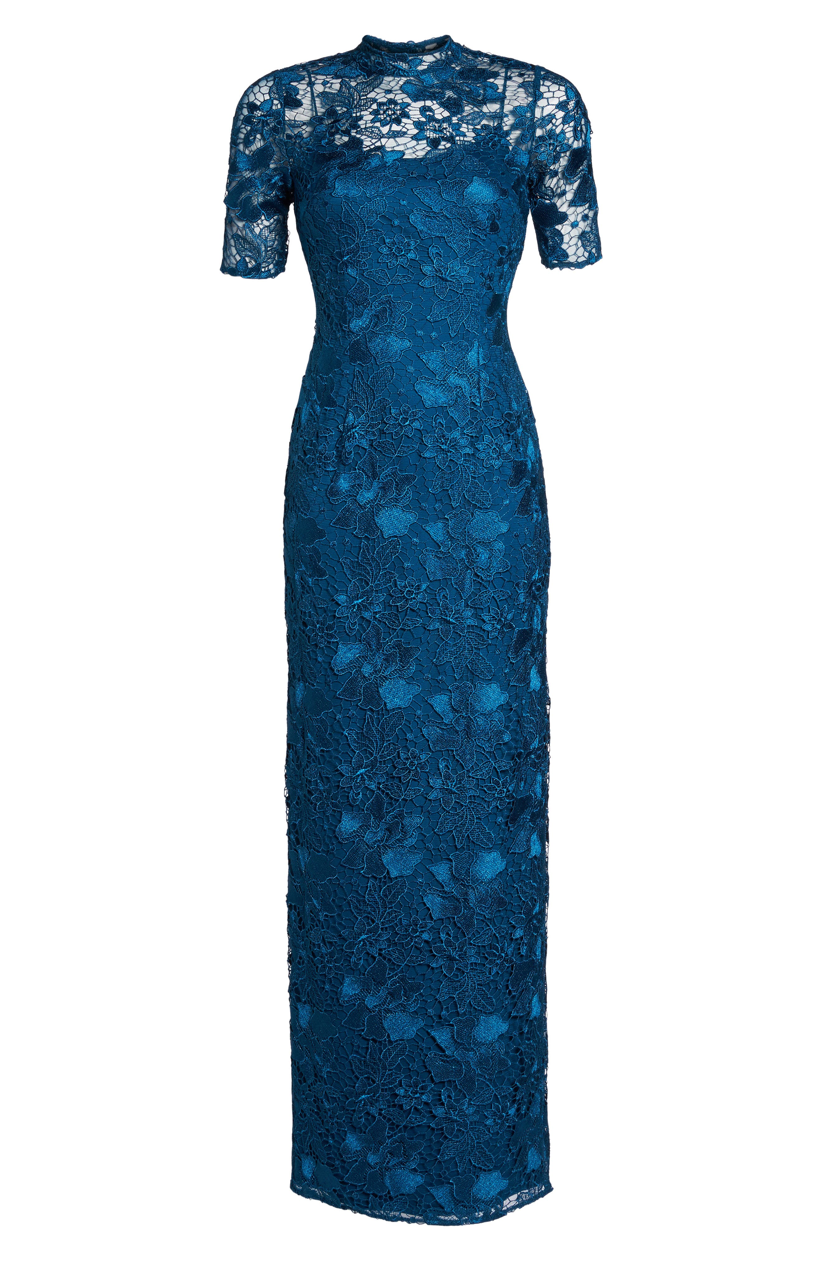 Guipure Lace Column Gown,                             Alternate thumbnail 6, color,                             Evening Sky