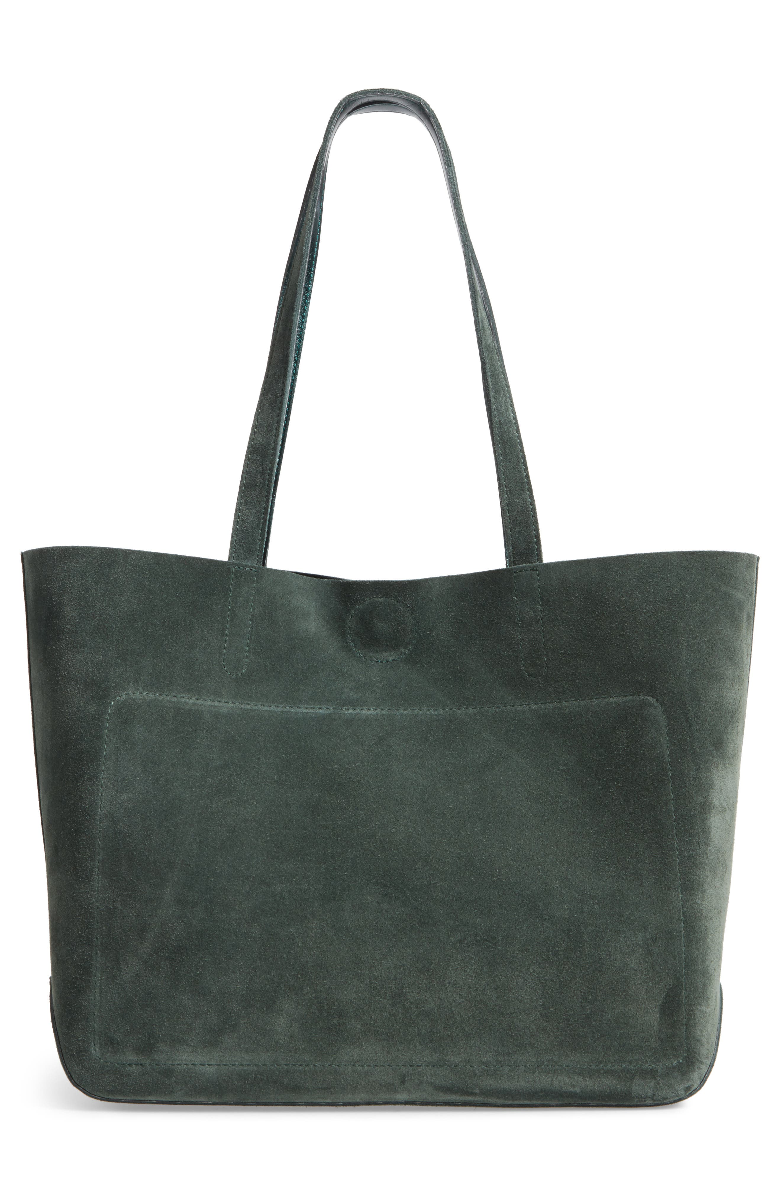 Shop It Suede Tote,                             Alternate thumbnail 3, color,                             Fir Green