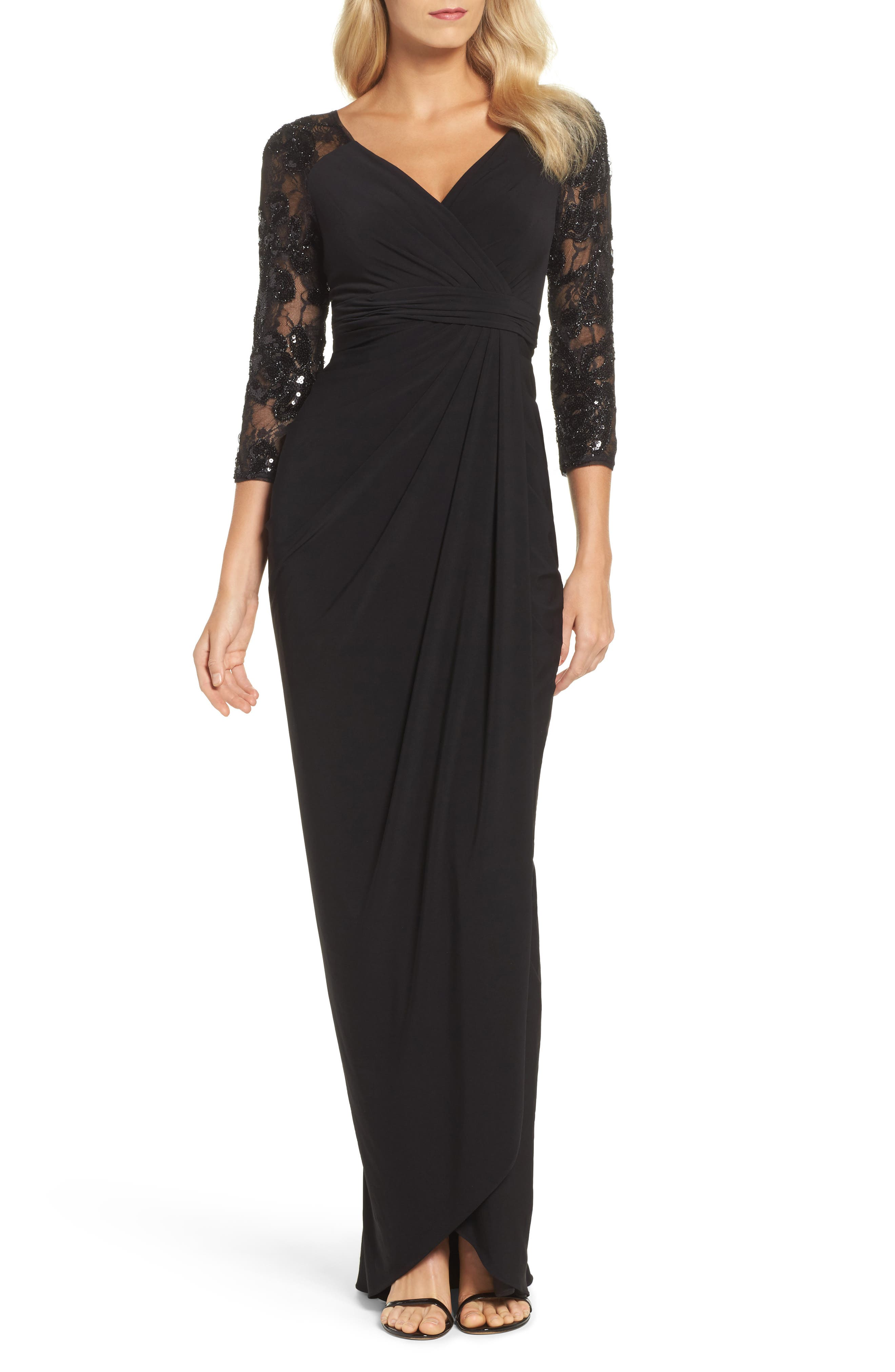 Adrianna Papell Lace Sleeve Gathered Gown