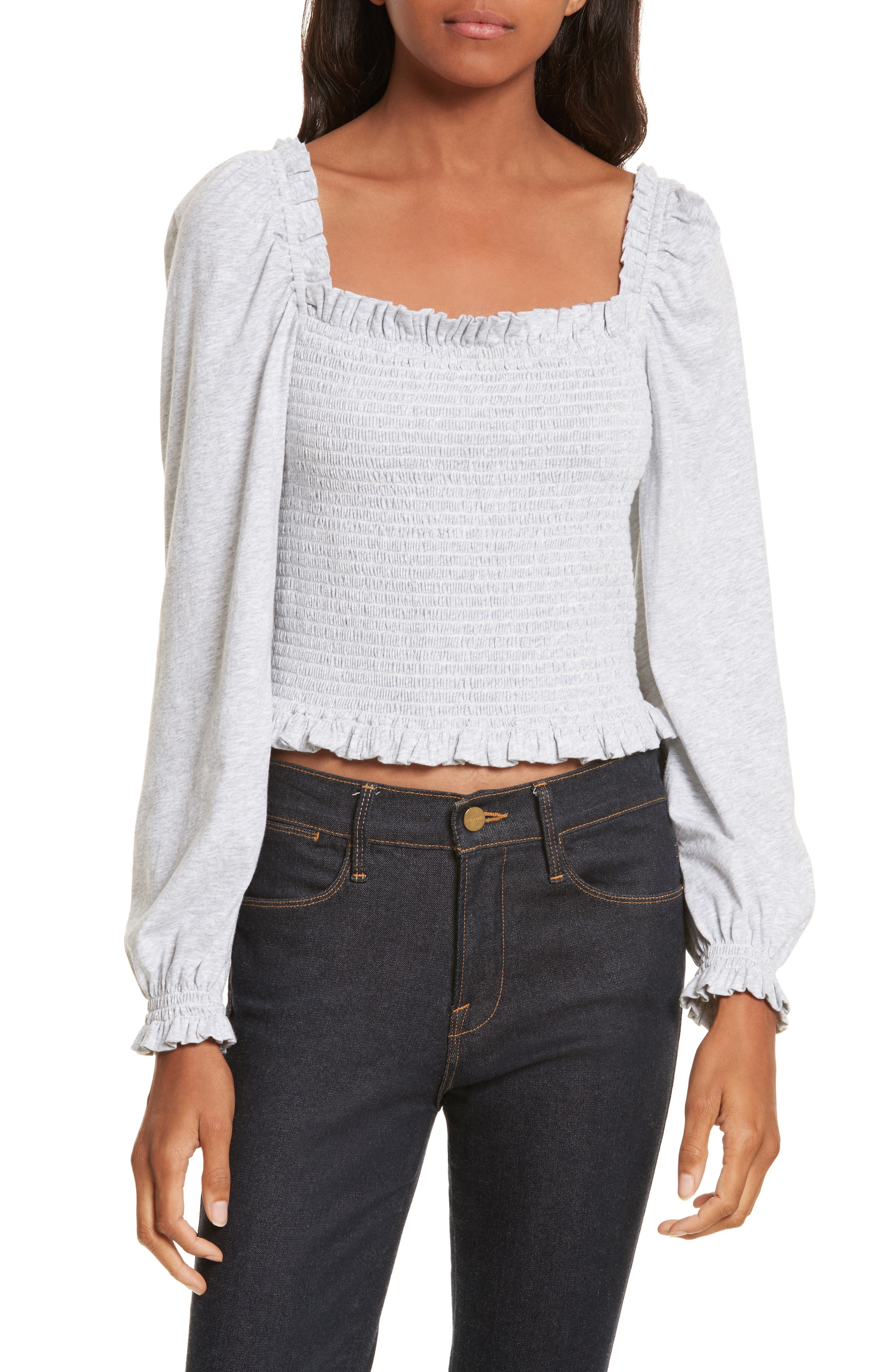 Main Image - La Vie Rebecca Taylor Smocked Crop Jersey Top