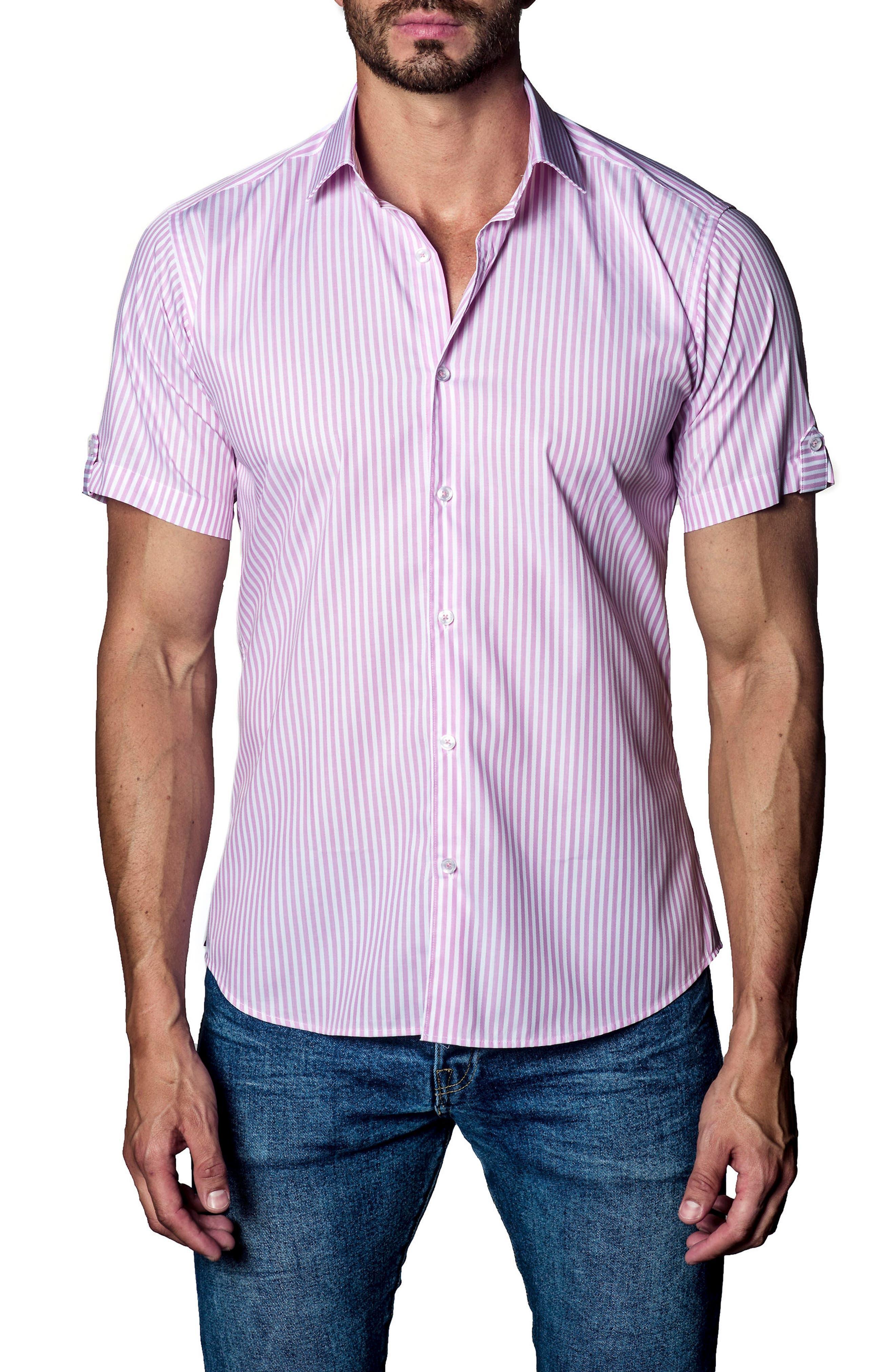 Stripe Sport Shirt,                         Main,                         color, Pink Stripe