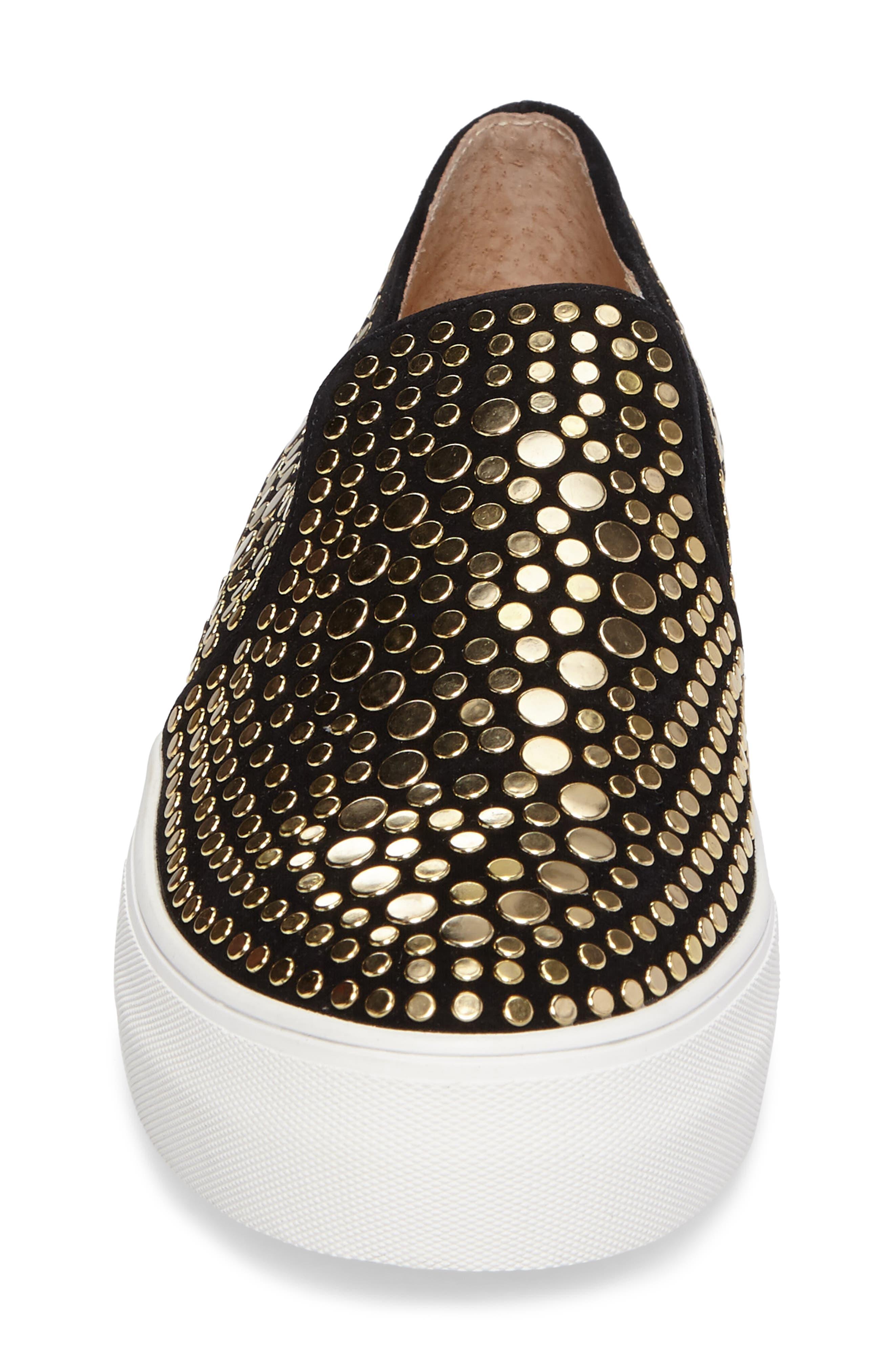 Kindra Stud Slip-On Sneaker,                             Alternate thumbnail 4, color,                             Black Suede