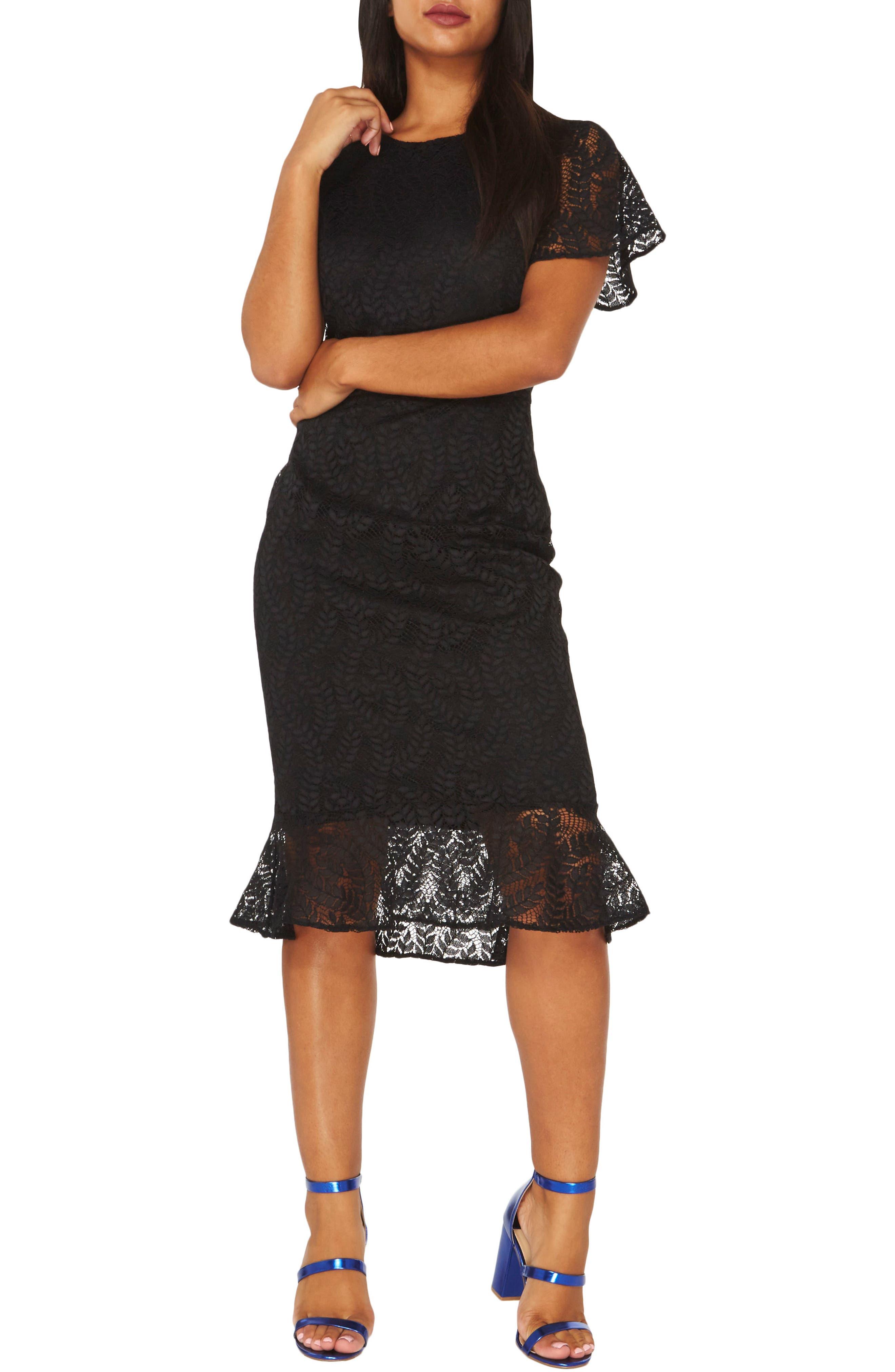 Lace Body-Con Dress,                         Main,                         color, Black