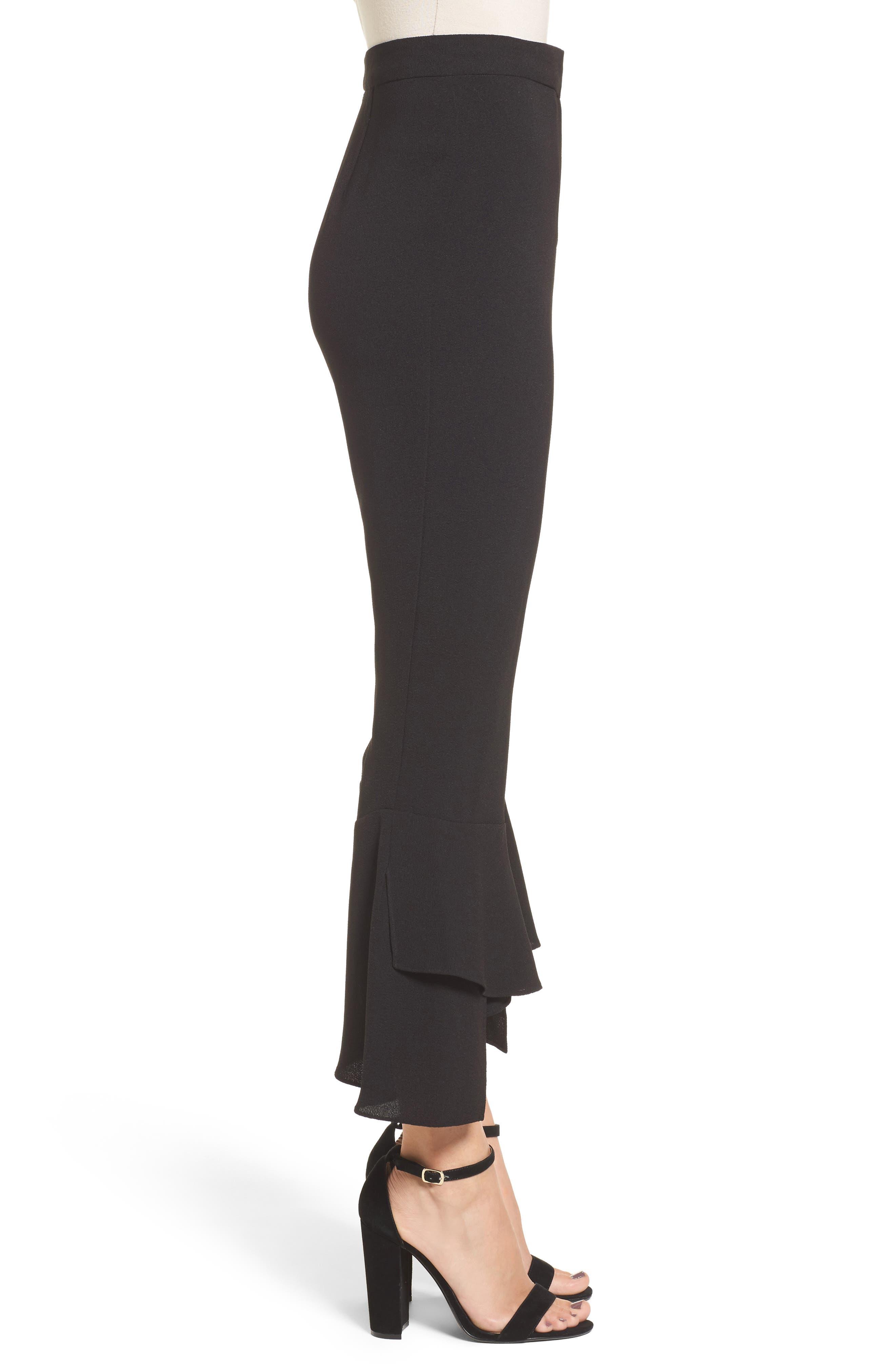 Gail Ruffle Hem Crop Pants,                             Alternate thumbnail 3, color,                             Black