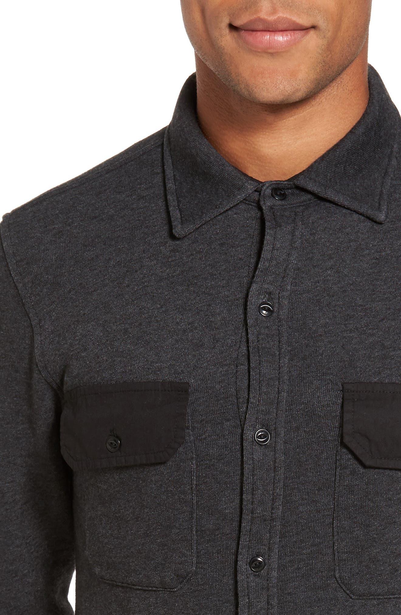 Shirt Jacket,                             Alternate thumbnail 4, color,                             Black