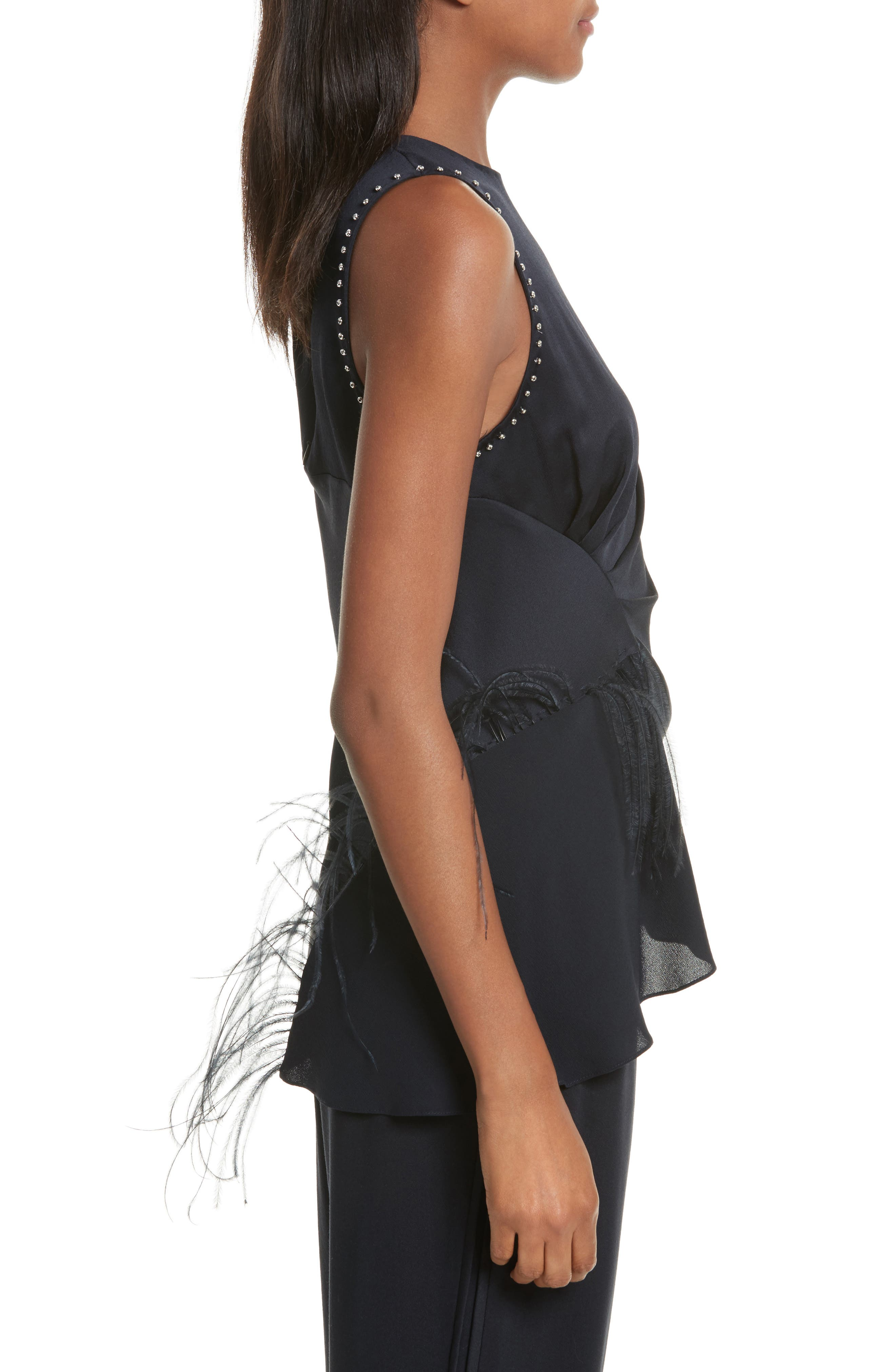 Feather Detail Silk Tank,                             Alternate thumbnail 3, color,                             Midnight