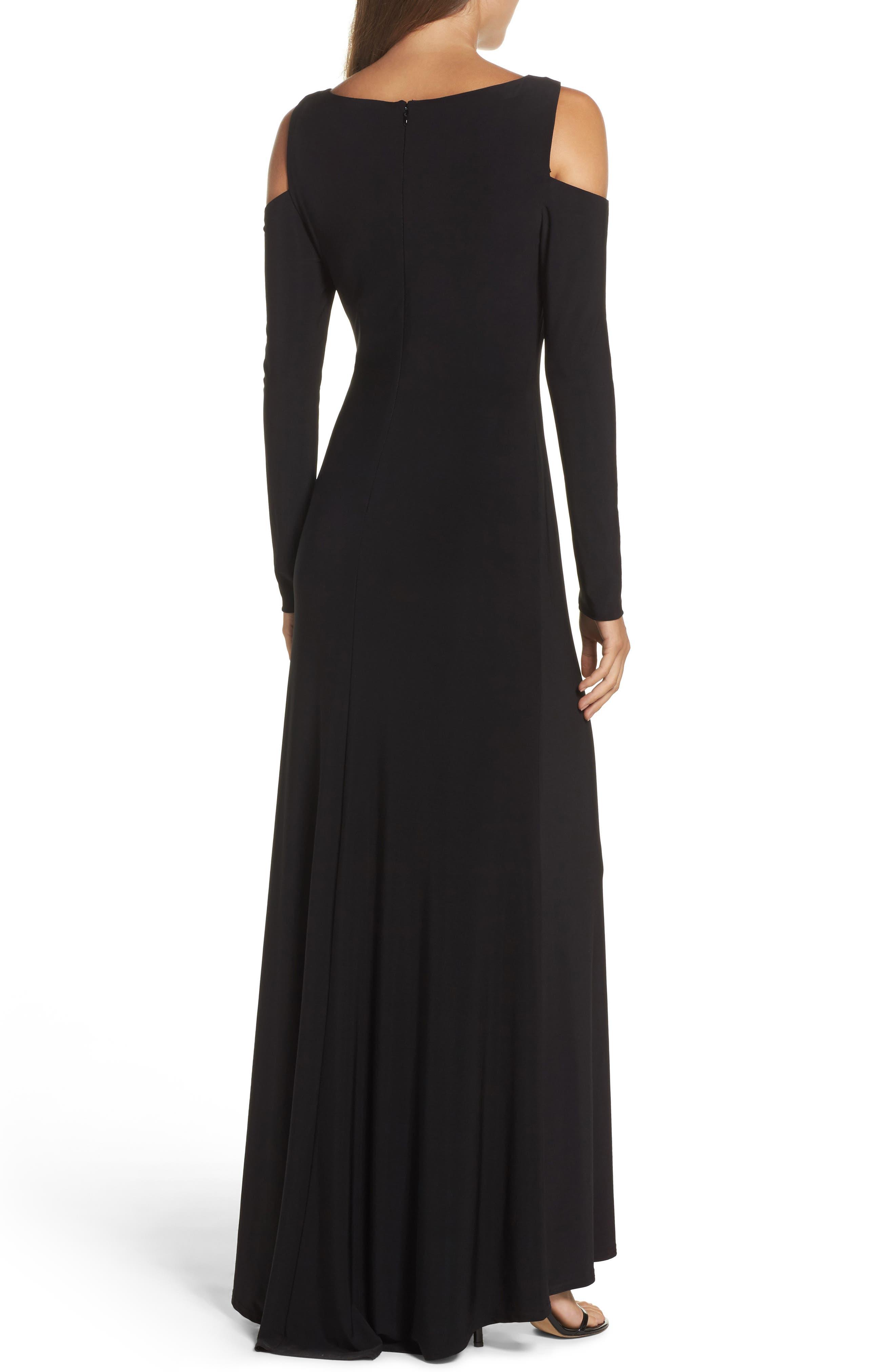 Cold Shoulder A-Line Gown,                             Alternate thumbnail 2, color,                             Black