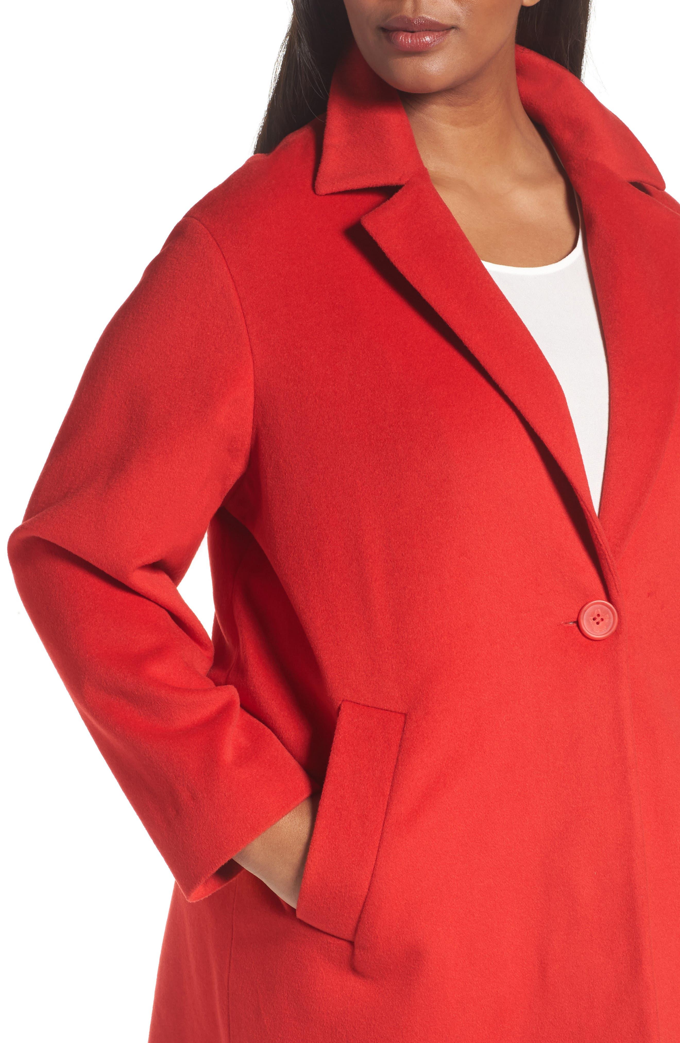 Wool Blend Coat,                             Alternate thumbnail 4, color,                             Red