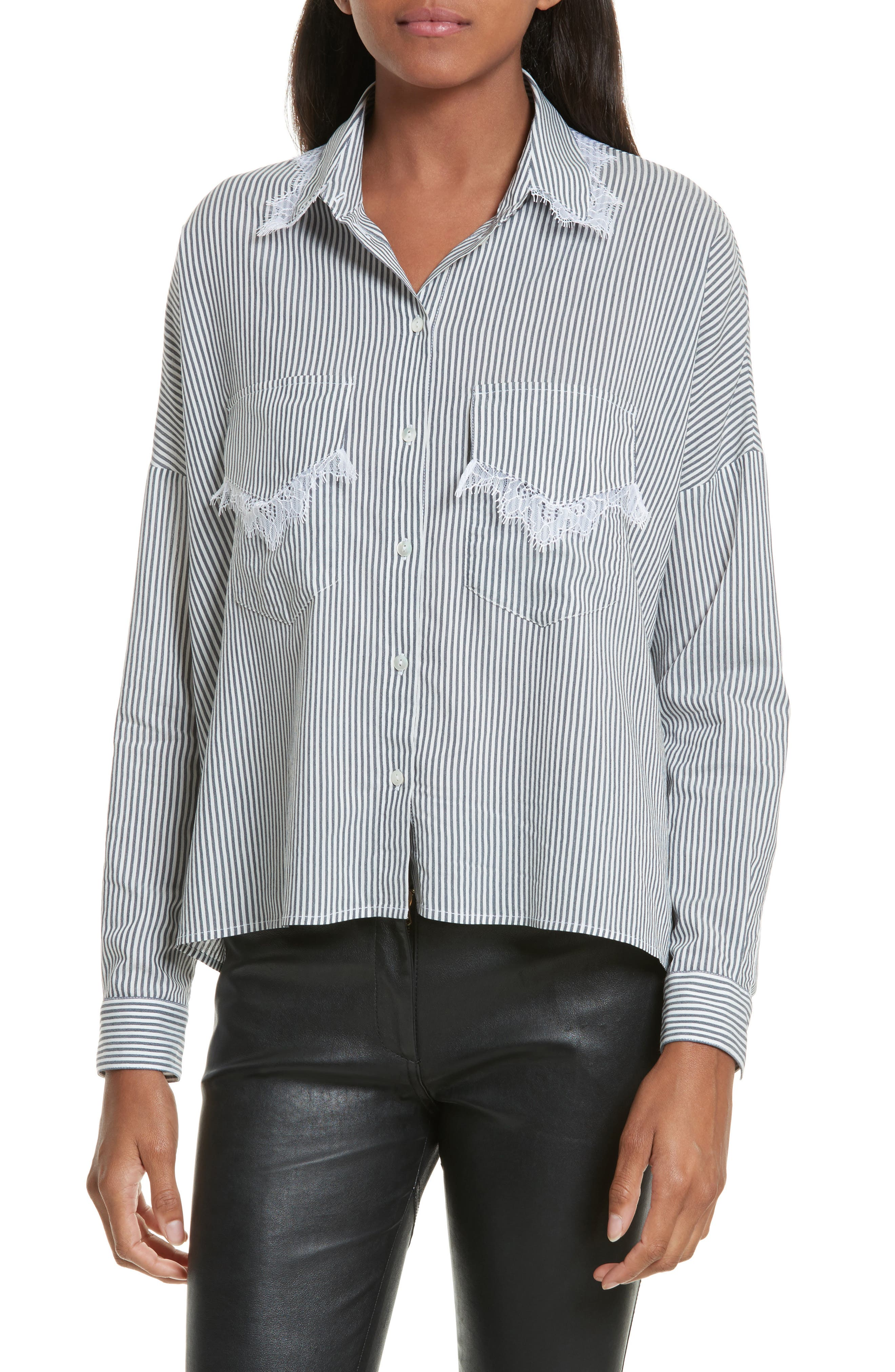 The Kooples James Lace Trim Stripe Shirt