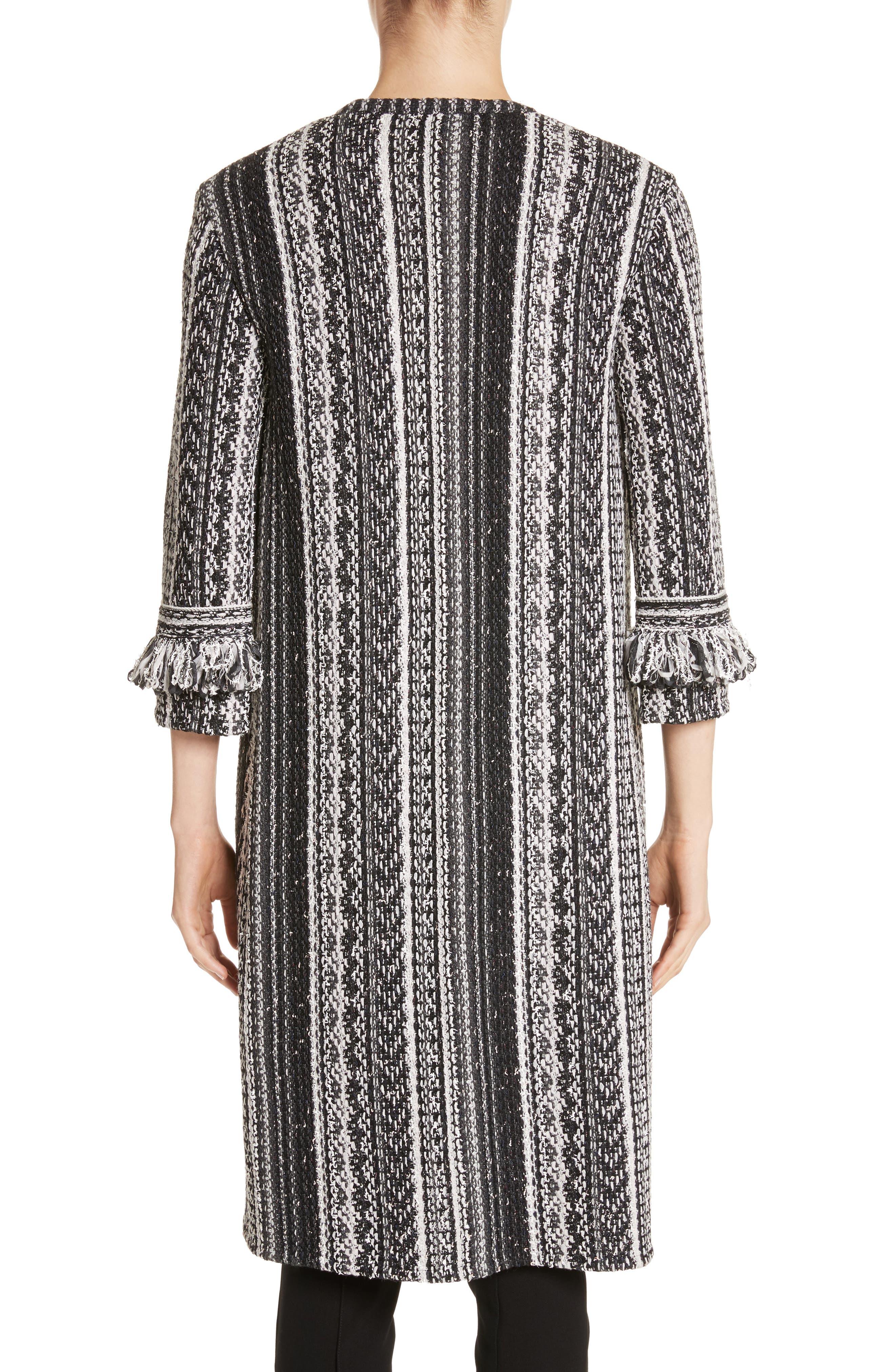 Fringe Ombré Stripe Tweed Knit Jacket,                             Alternate thumbnail 2, color,                             Caviar Multi