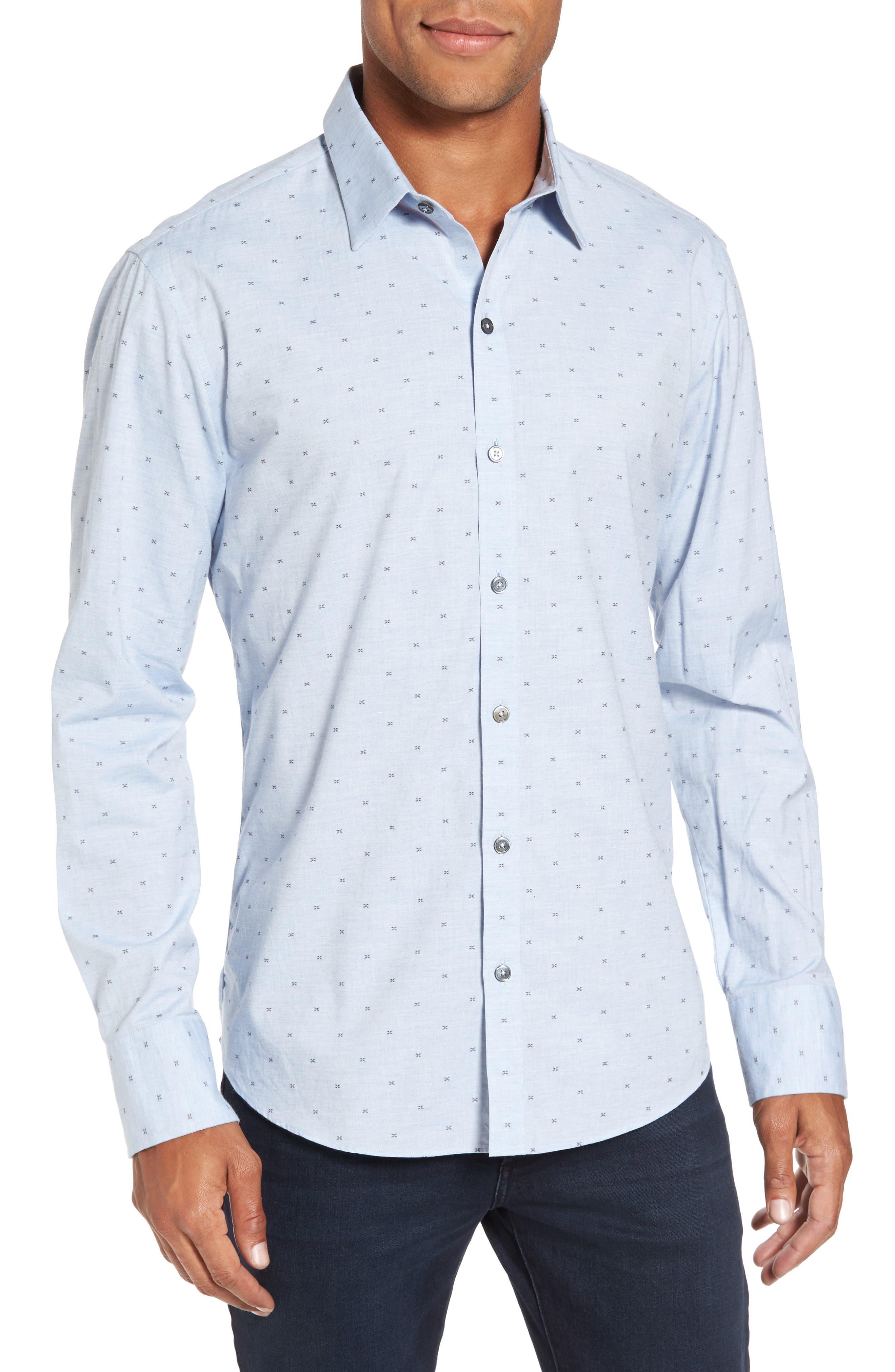 Caffoe Slim Fit Dobby Sport Shirt,                         Main,                         color, Blue