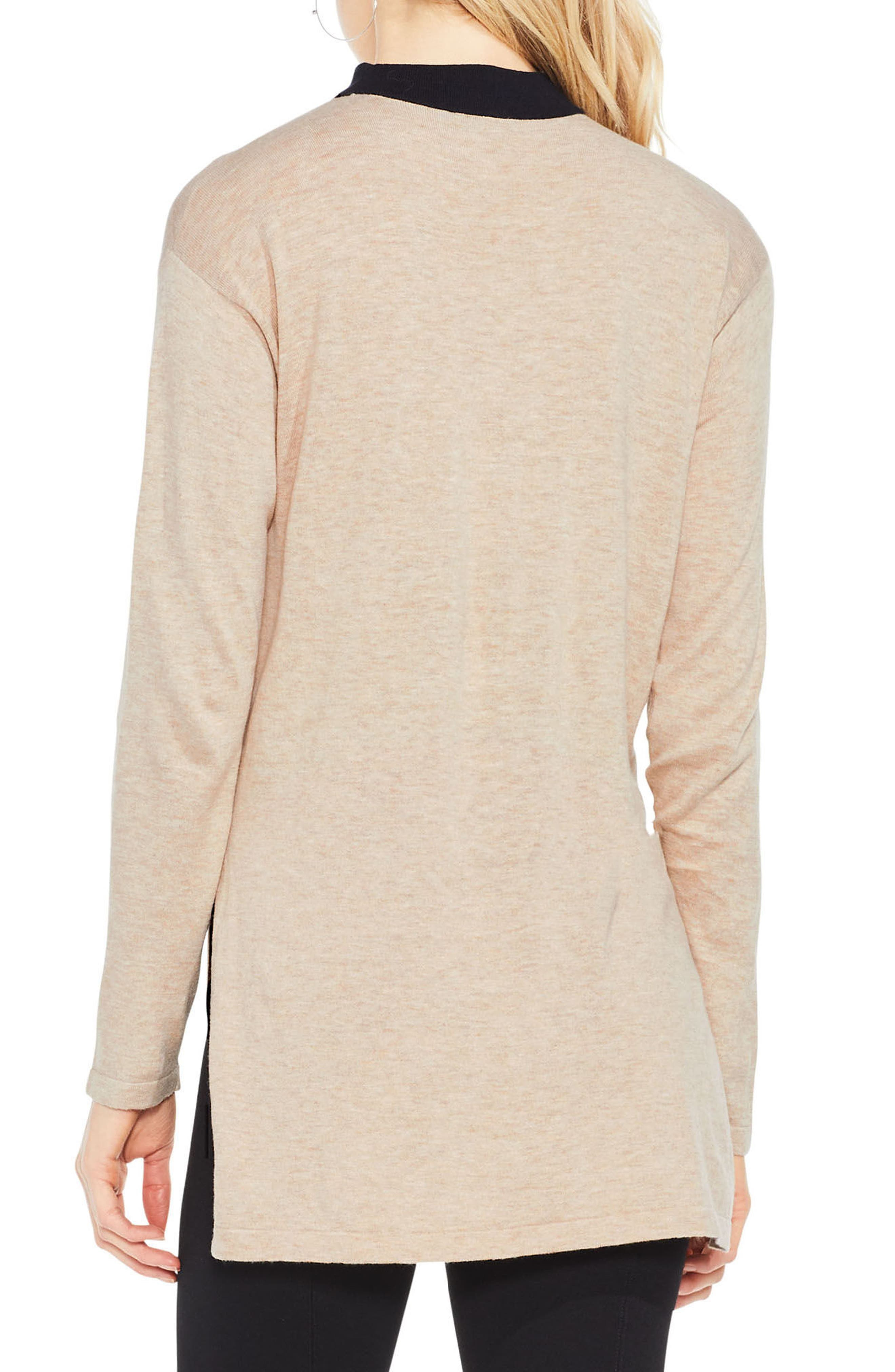 Choker V-Neck Sweater,                             Alternate thumbnail 2, color,                             Warm Camel Heather