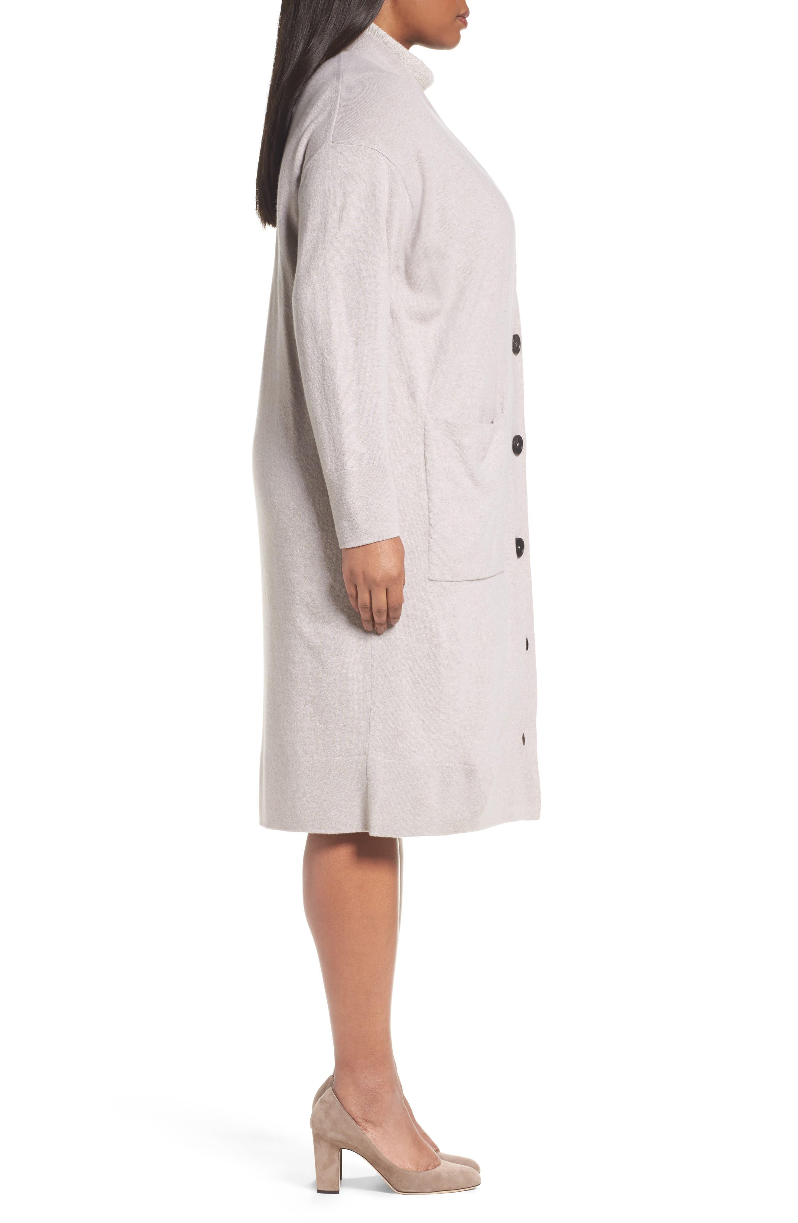 Long Merino Wool & Cashmere Cardigan,                             Alternate thumbnail 3, color,                             Luxor Melange