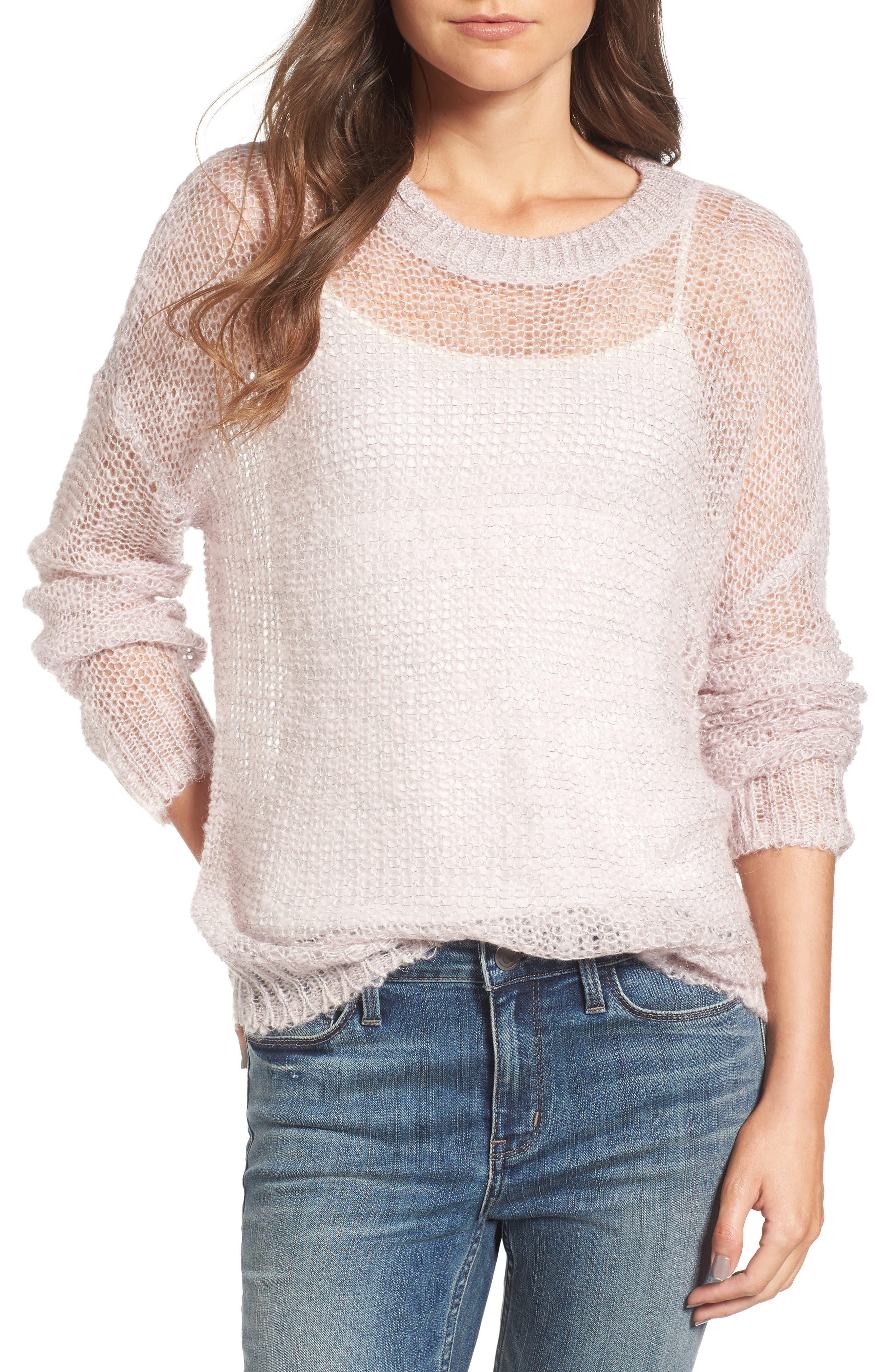 x Something Navy Sheer Metallic Sweater,                         Main,                         color, Pink Parfait Combo