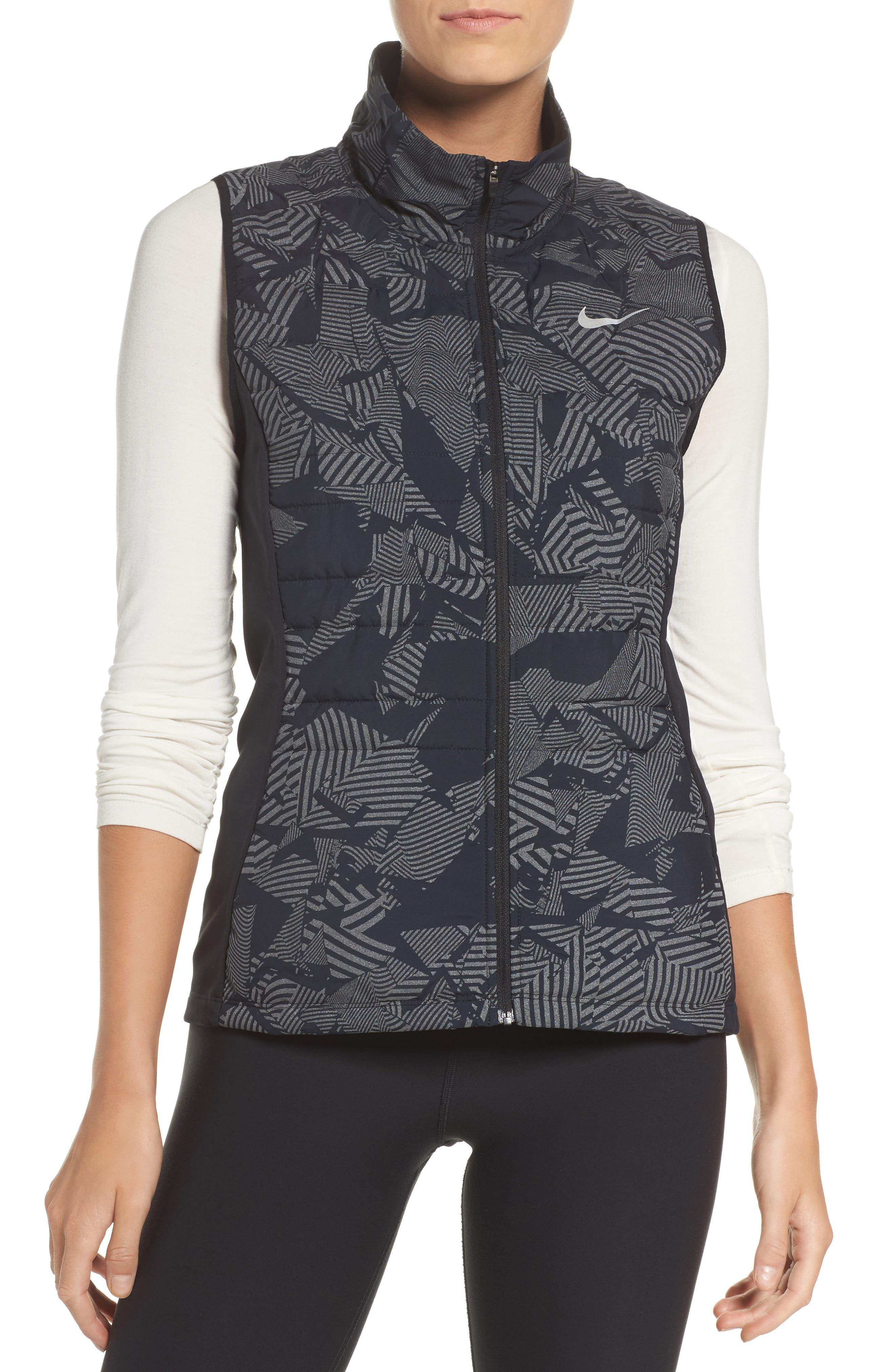 Essential Flash Running Vest,                         Main,                         color, Black/ Black/ Metallic Silver