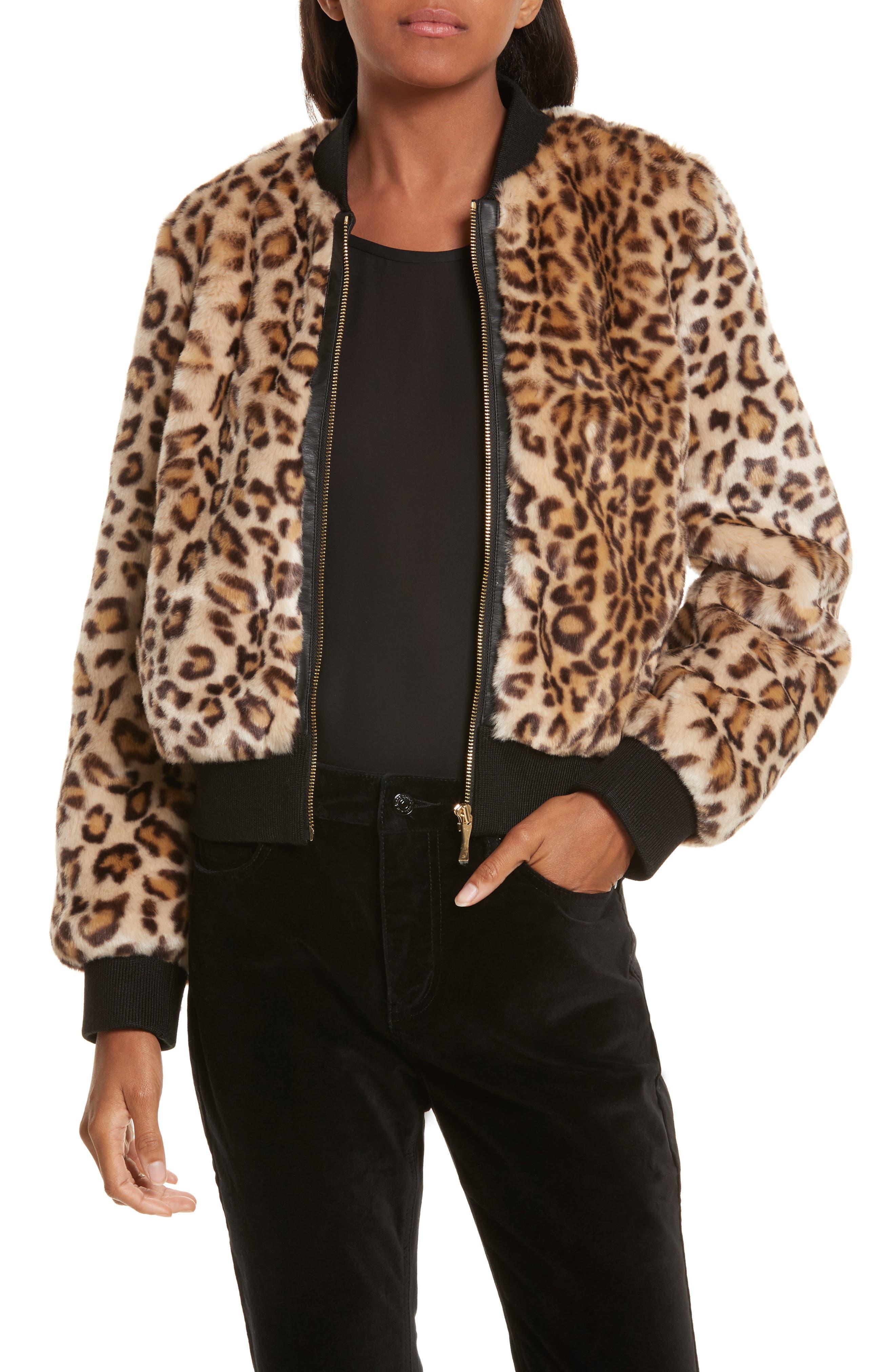 kate spade new york faux leopard fur bomber jacket