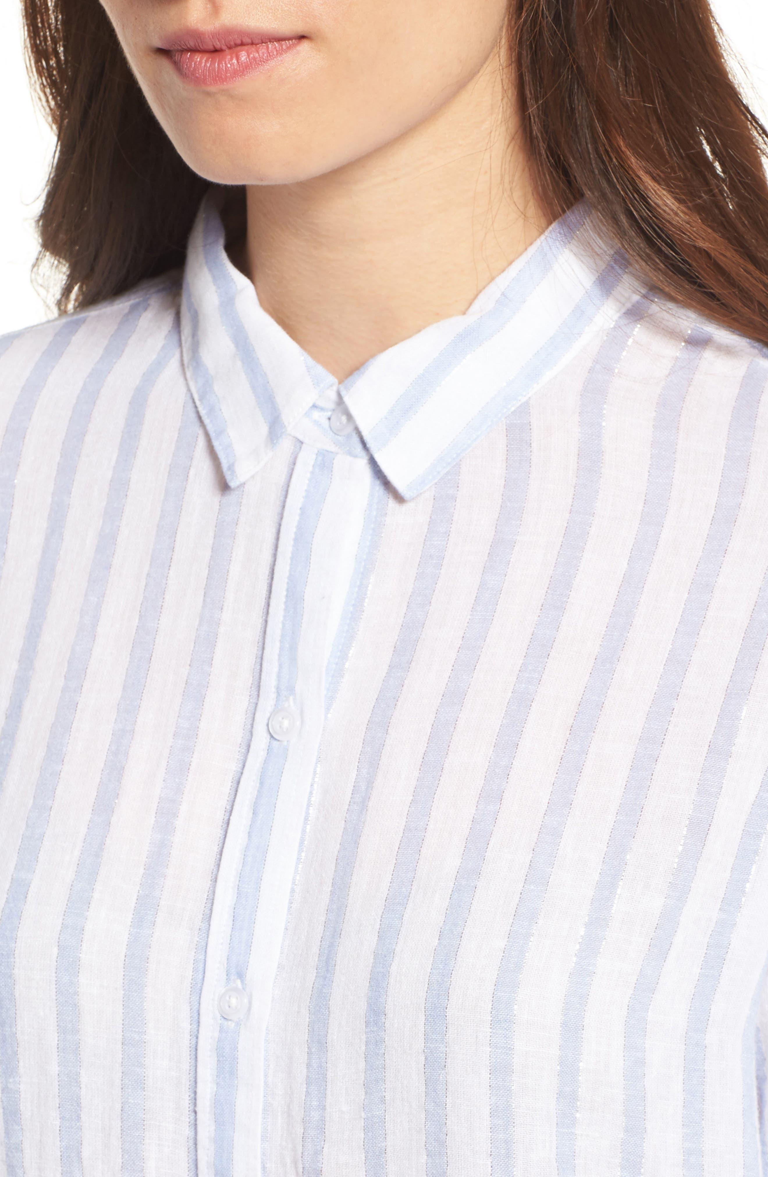Sydney Vertical Shimmer Stripe Linen Blend Shirt,                             Alternate thumbnail 4, color,                             Cornflower Stripe/ Silver