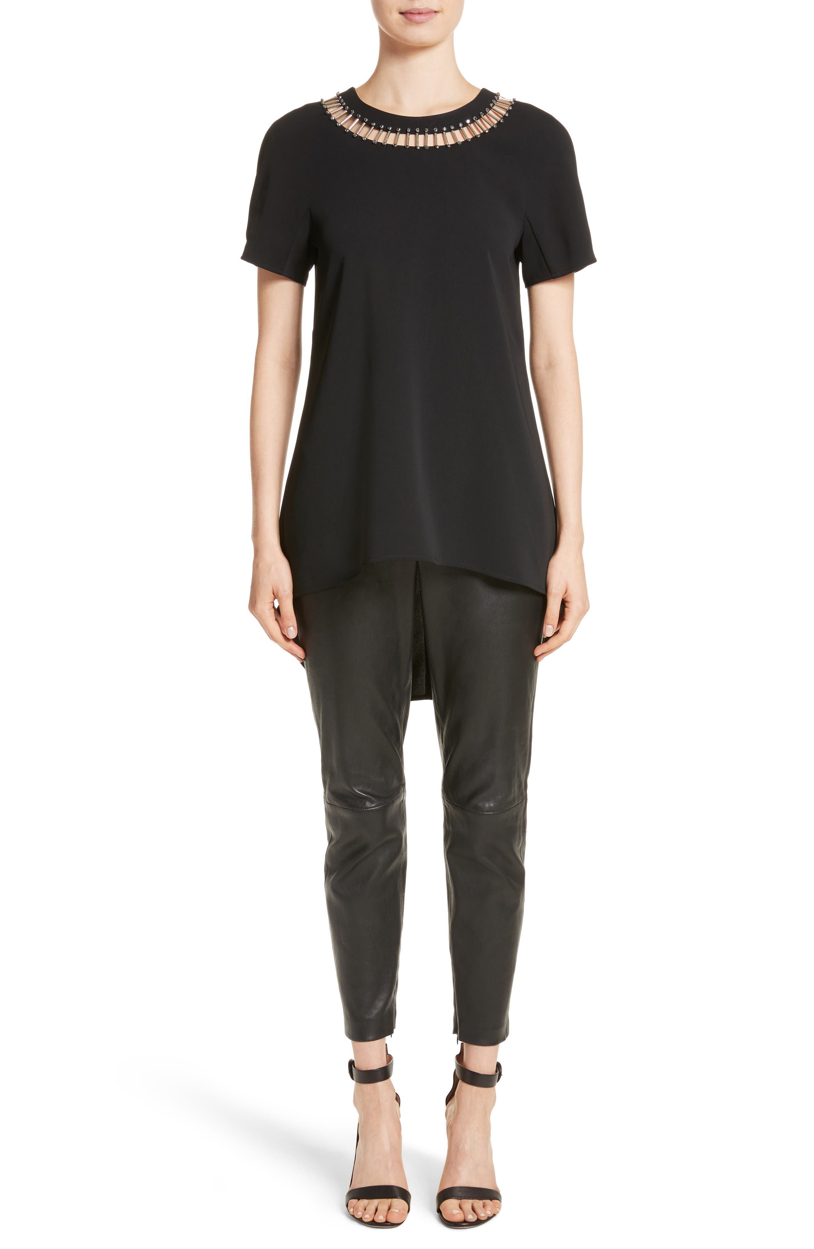 Alternate Image 18  - St. John Collection Stretch Nappa Leather Crop Pants