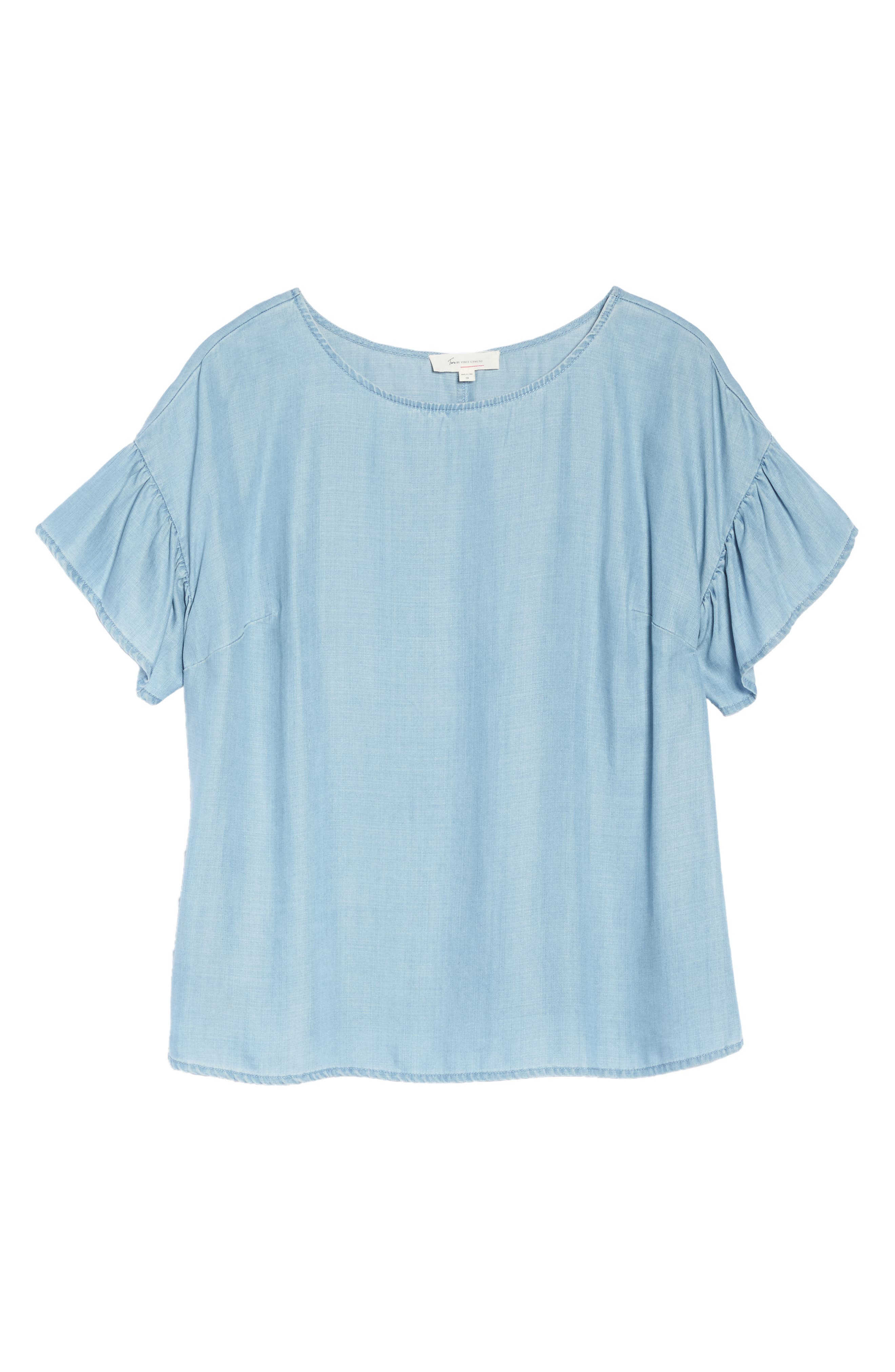 Alternate Image 6  - Two by Vince Camuto Ruffle Sleeve Chambray Top (Plus Size)