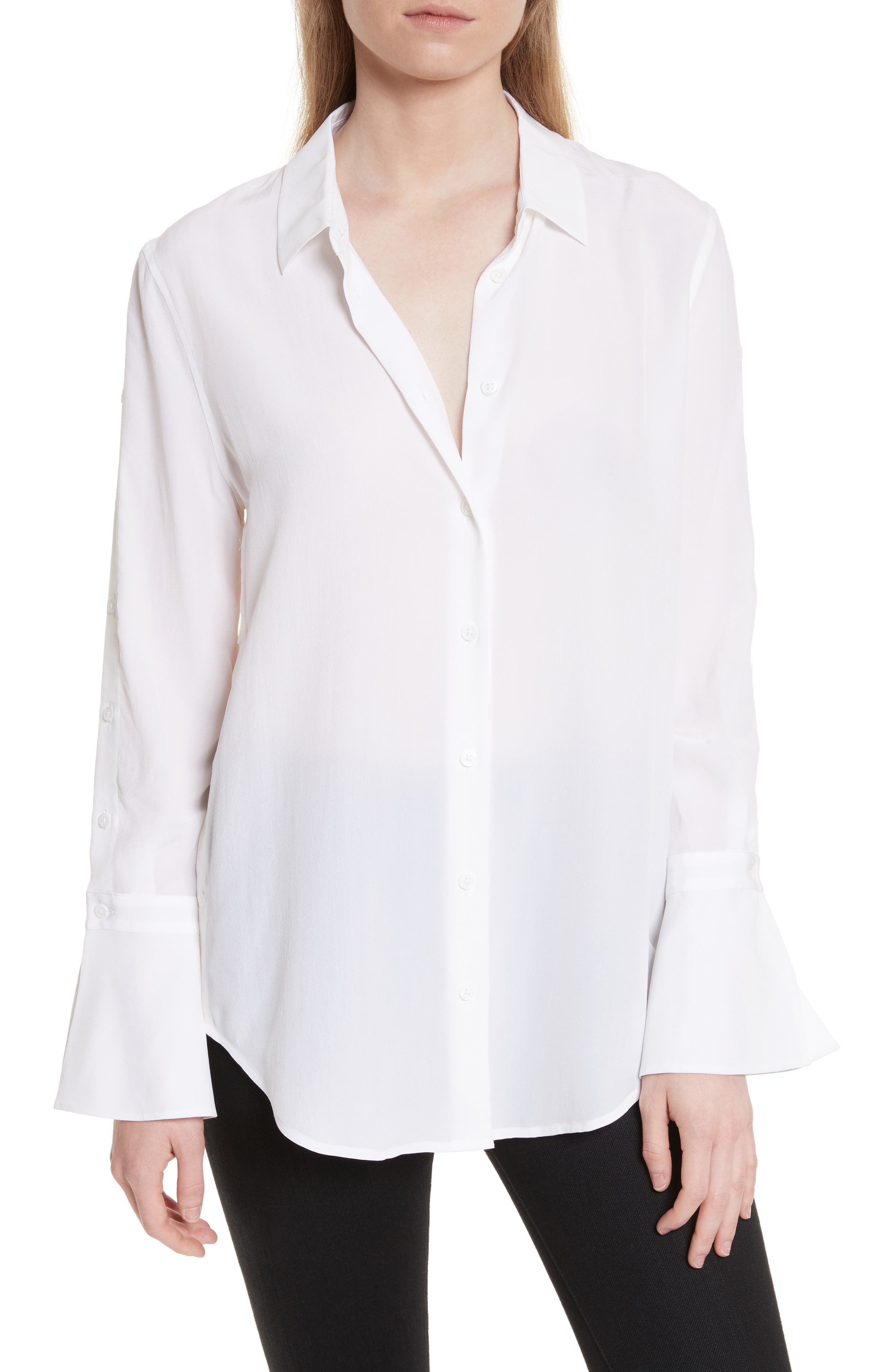 Rossi Button Detail Silk Shirt,                         Main,                         color, Bright White