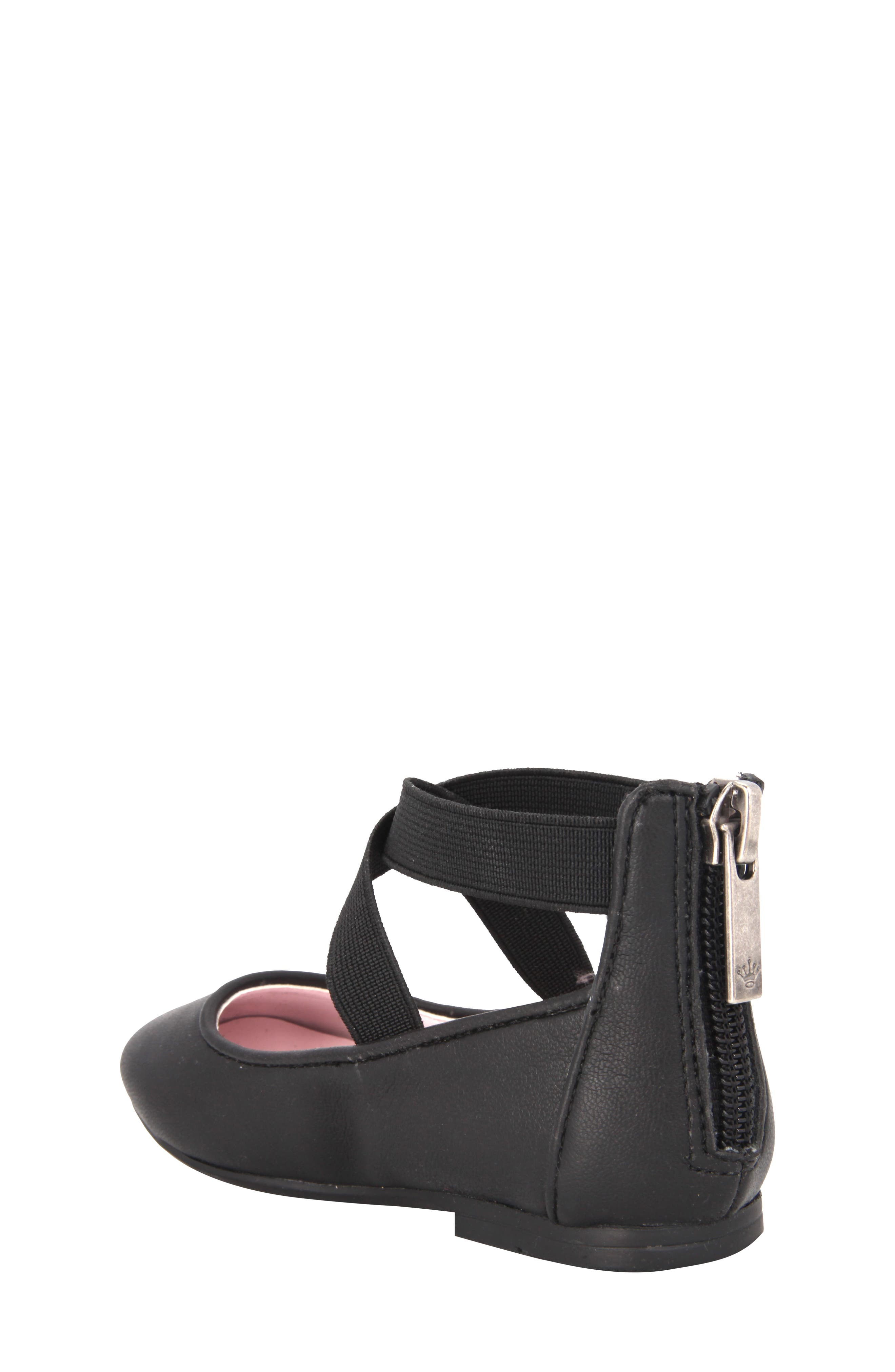 Marissa Cross Strap Flat,                             Alternate thumbnail 2, color,                             Black Faux Leather