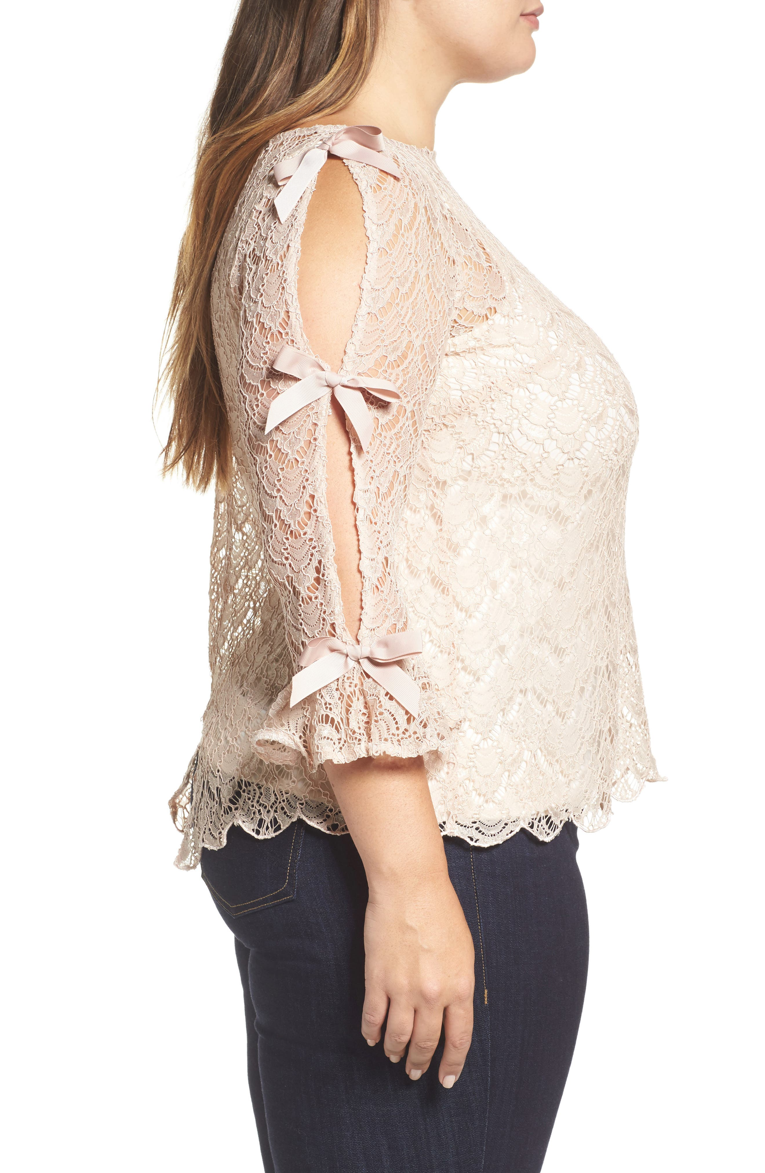 Bow Sleeve Lace Top,                             Alternate thumbnail 3, color,                             Nude