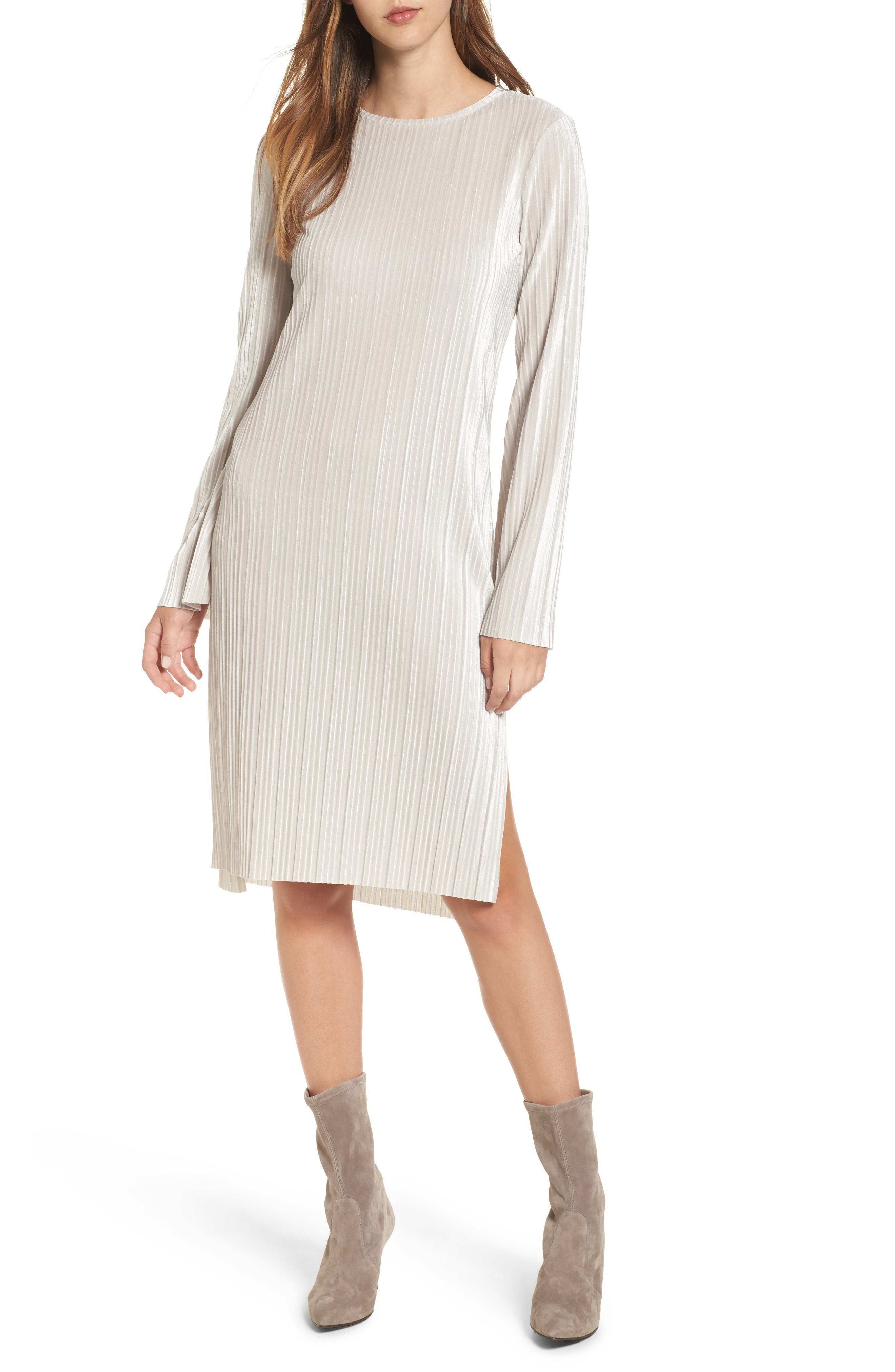 Pleated Midi Dress,                             Main thumbnail 1, color,                             Grey Chateau