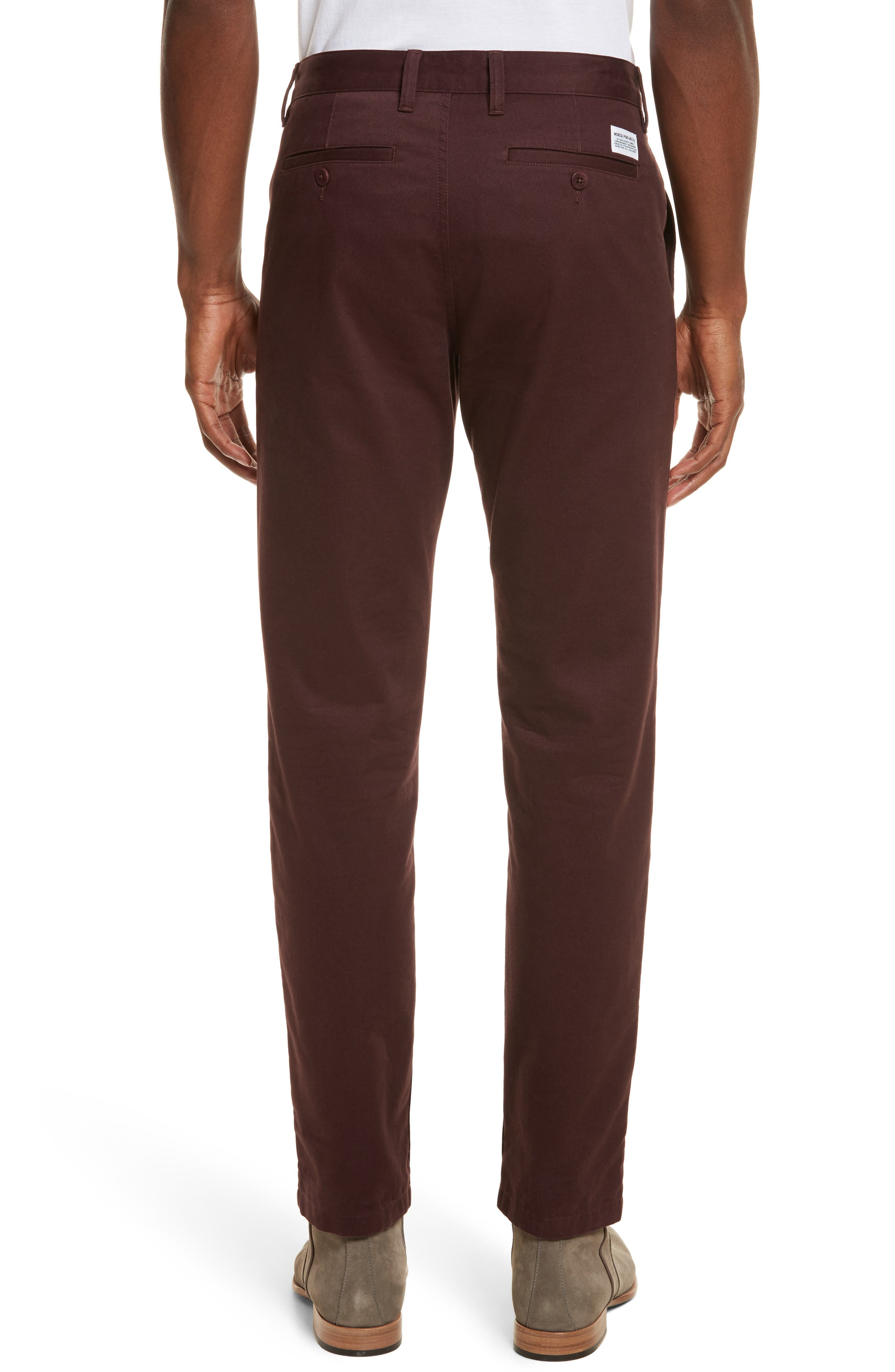 Aros Brushed Twill Chinos,                             Alternate thumbnail 2, color,                             Hematite Red