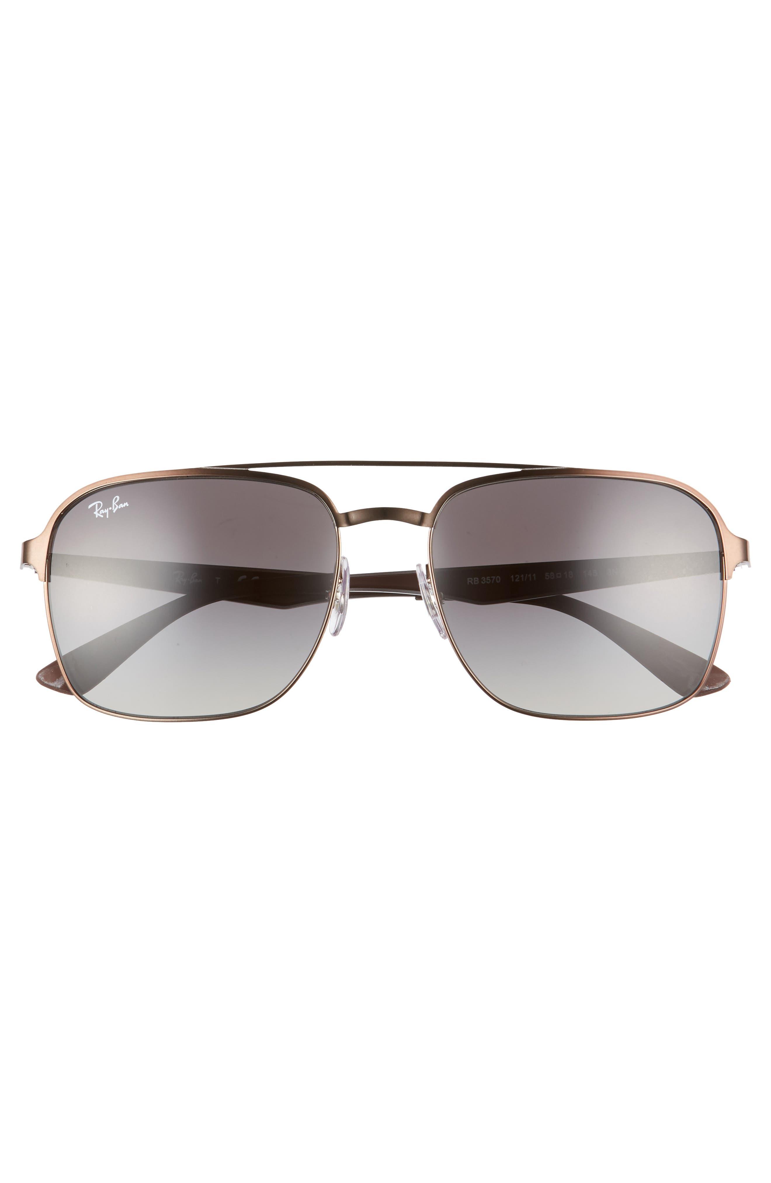 Retro 58mm Sunglasses,                             Alternate thumbnail 2, color,                             Brown