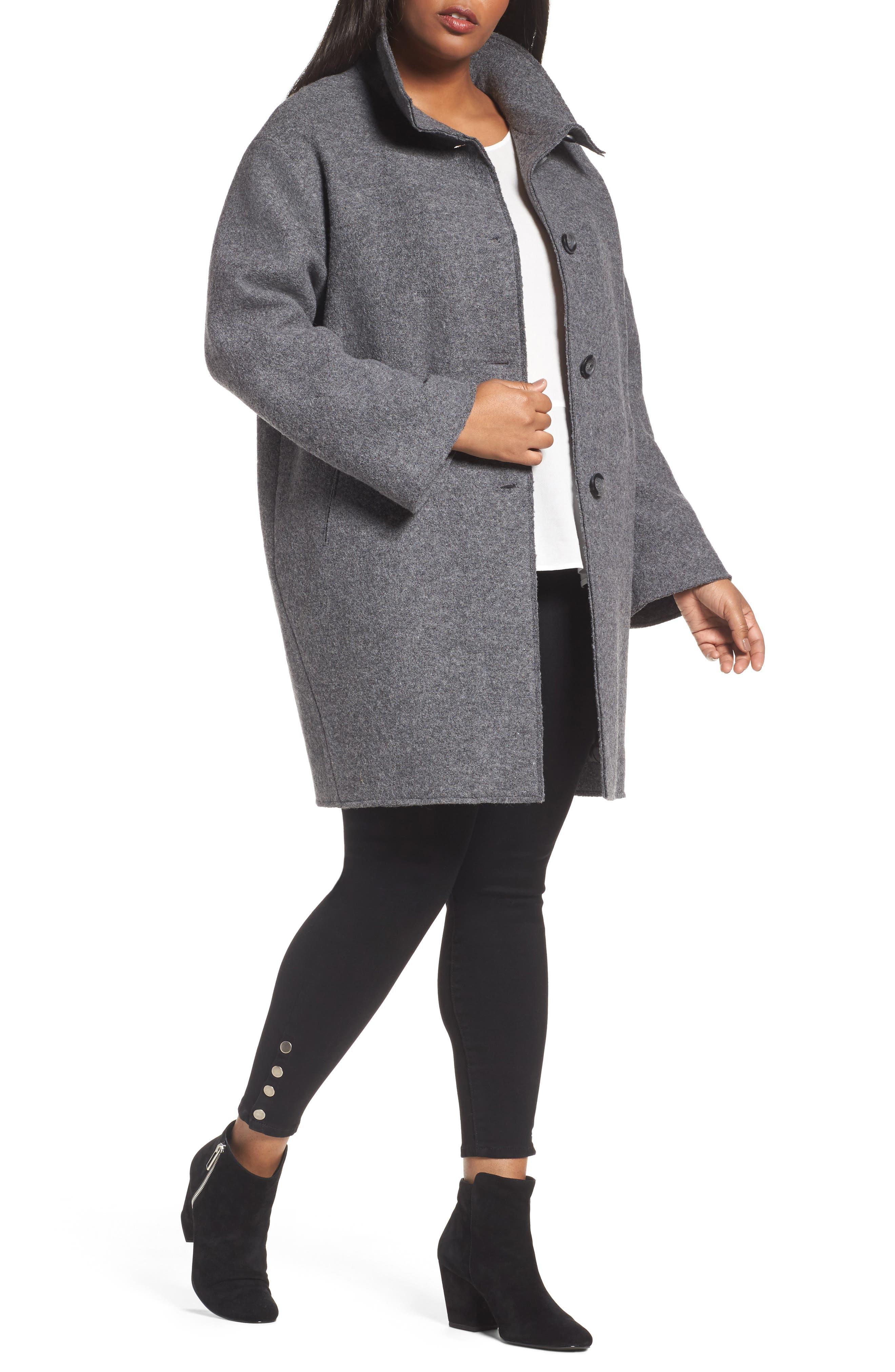 Wool Blend Coat,                         Main,                         color, Medium Charcoal