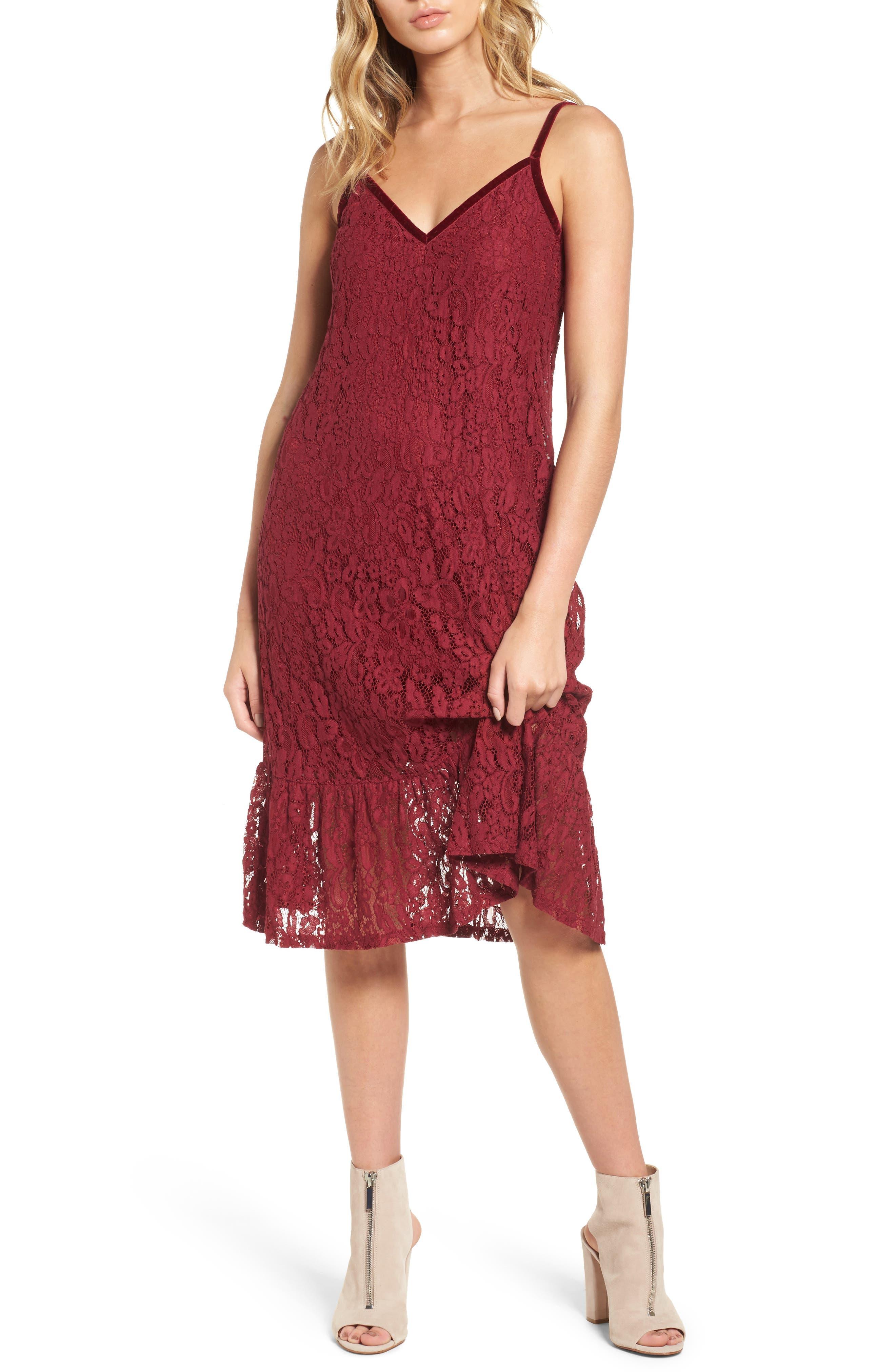 Lace Midi Dress,                         Main,                         color, Burgundy