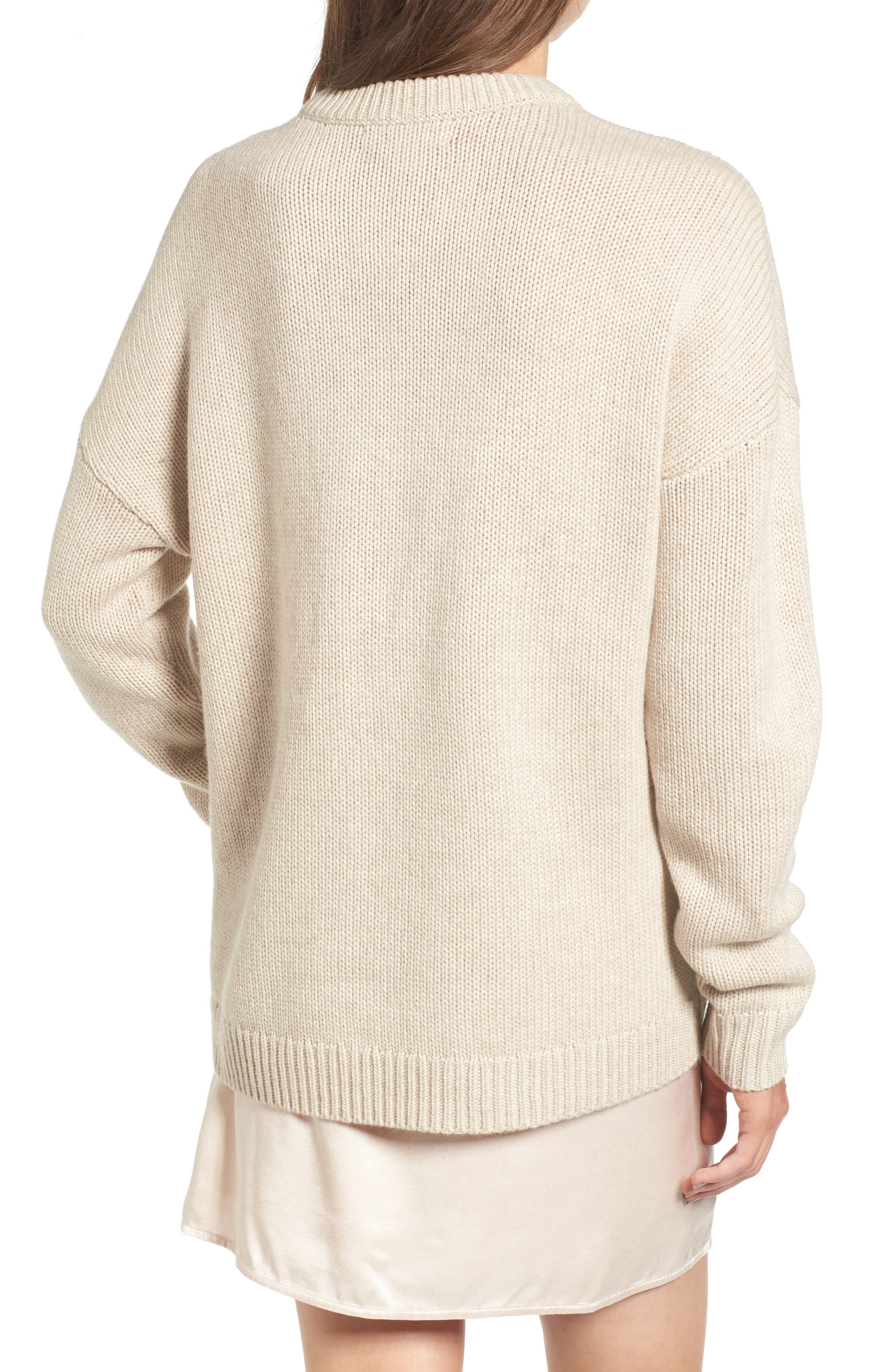 x Something Navy Crewneck Sweater,                             Alternate thumbnail 2, color,                             Beige Oatmeal Medium Heather