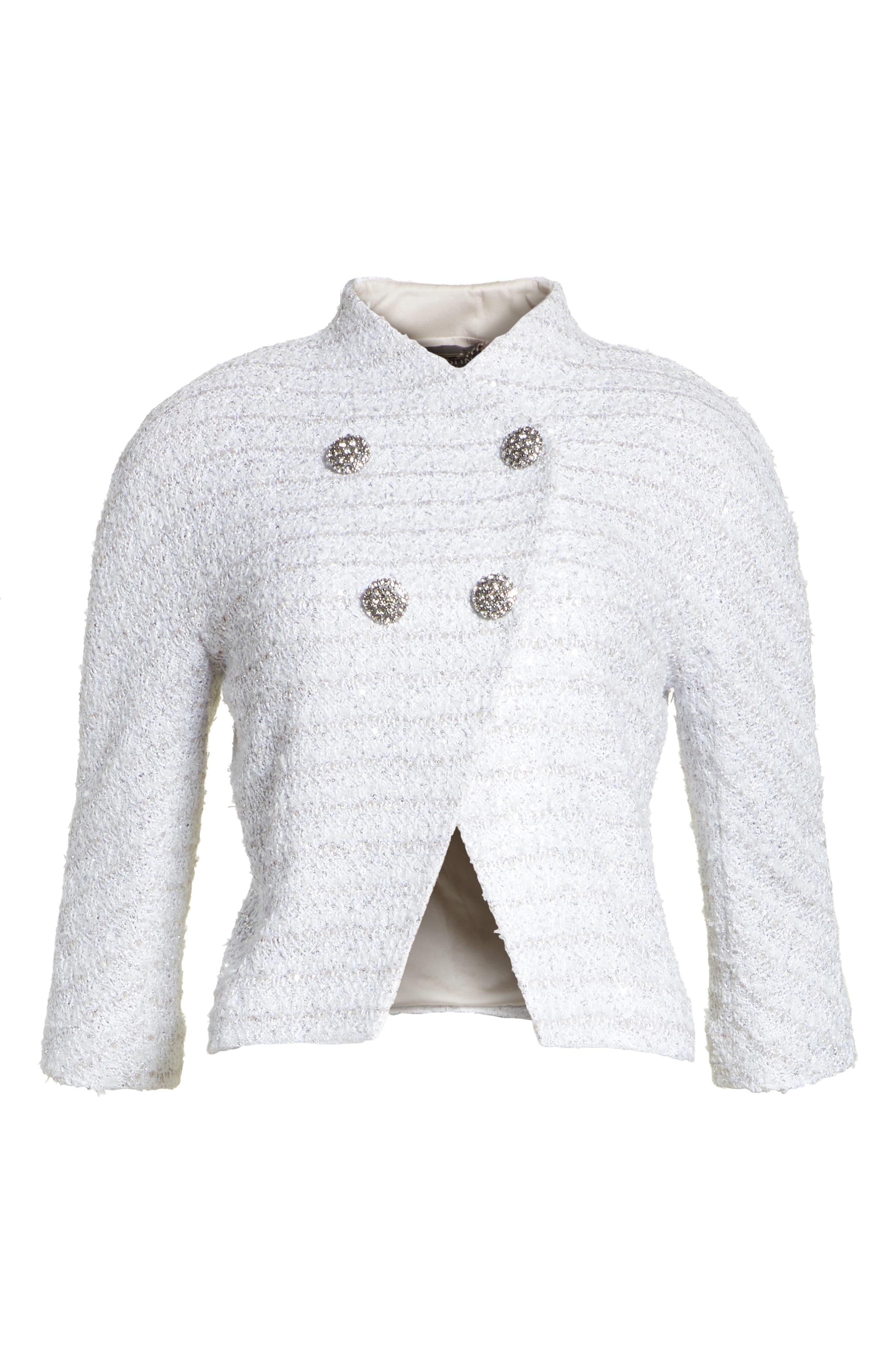 Frosted Metallic Tweed Jacket,                             Alternate thumbnail 7, color,                             Bianco Multi